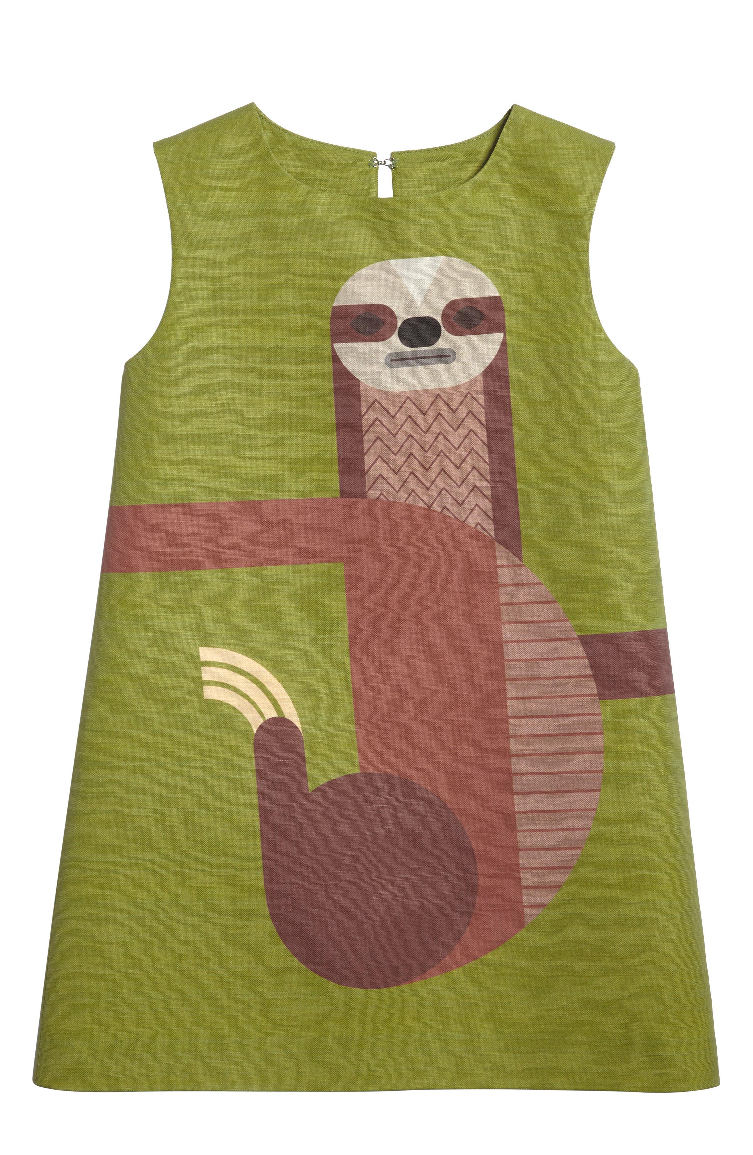 Sloth Shift Dress,                             Main thumbnail 1, color,                             Fern