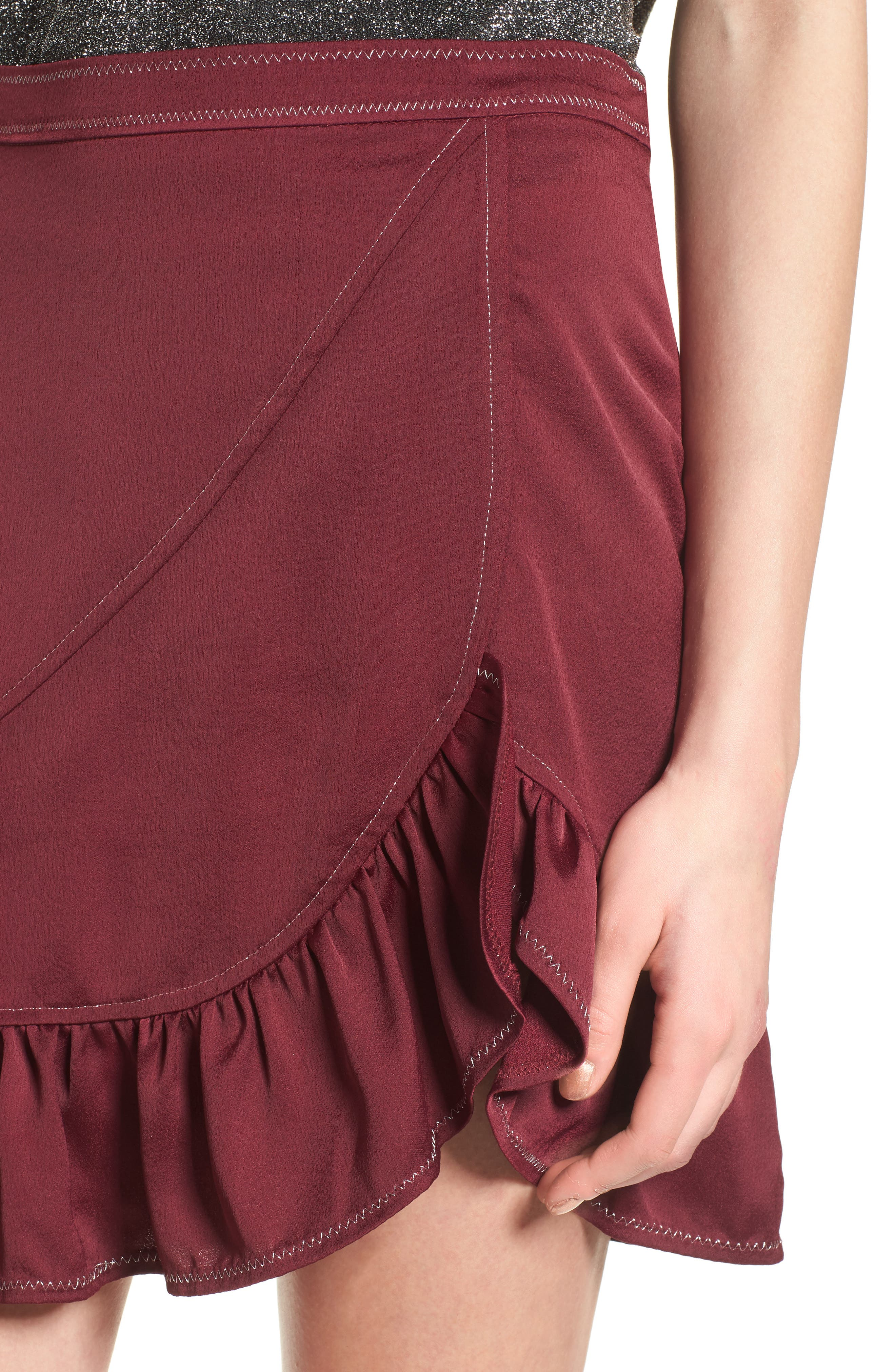 Brielle Ruffle Miniskirt,                             Alternate thumbnail 4, color,                             Frosted Grape