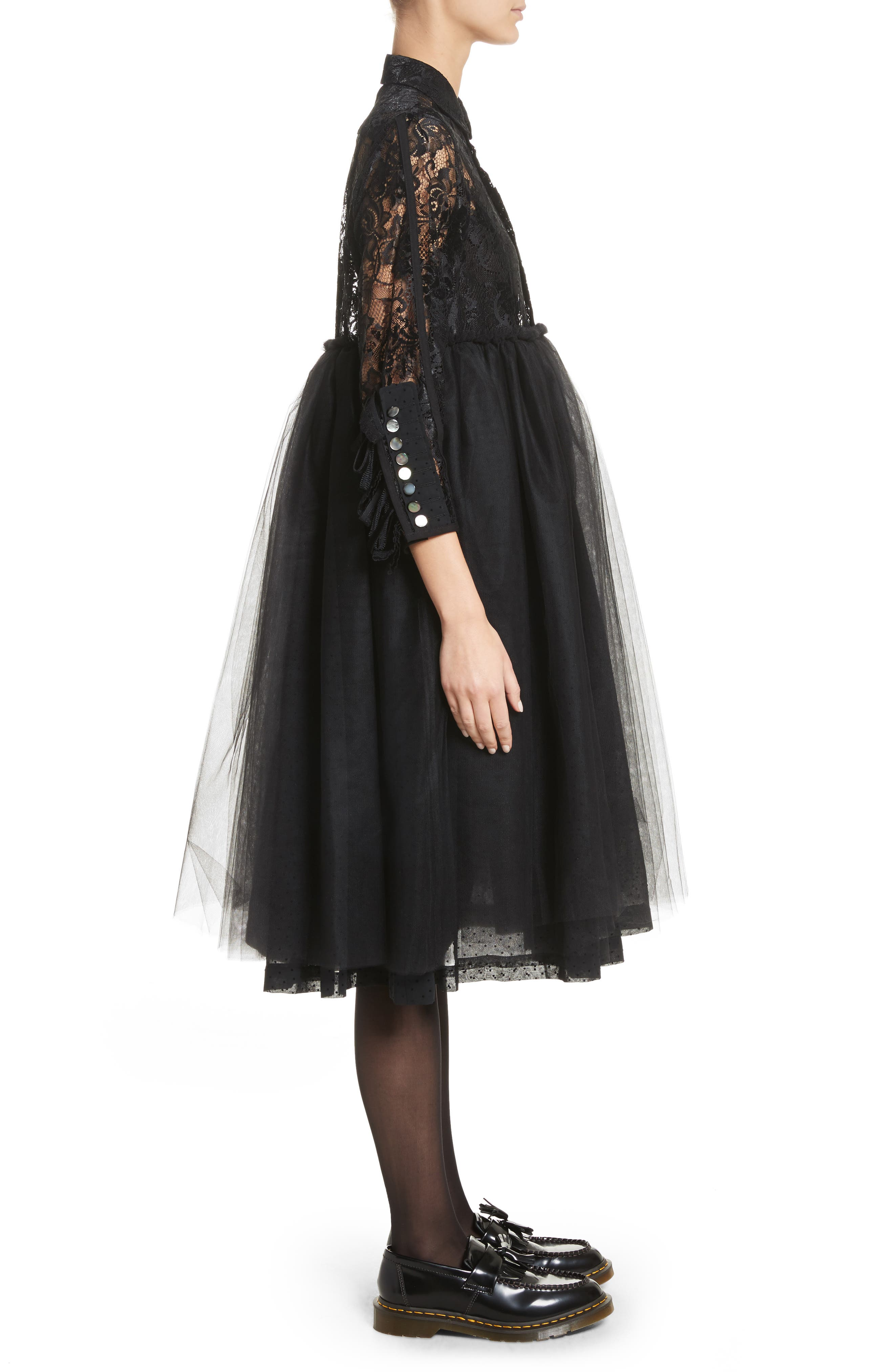 Lace Bodice Shirtdress with Tulle Skirt,                             Alternate thumbnail 3, color,                             Blk/Blk X Blk