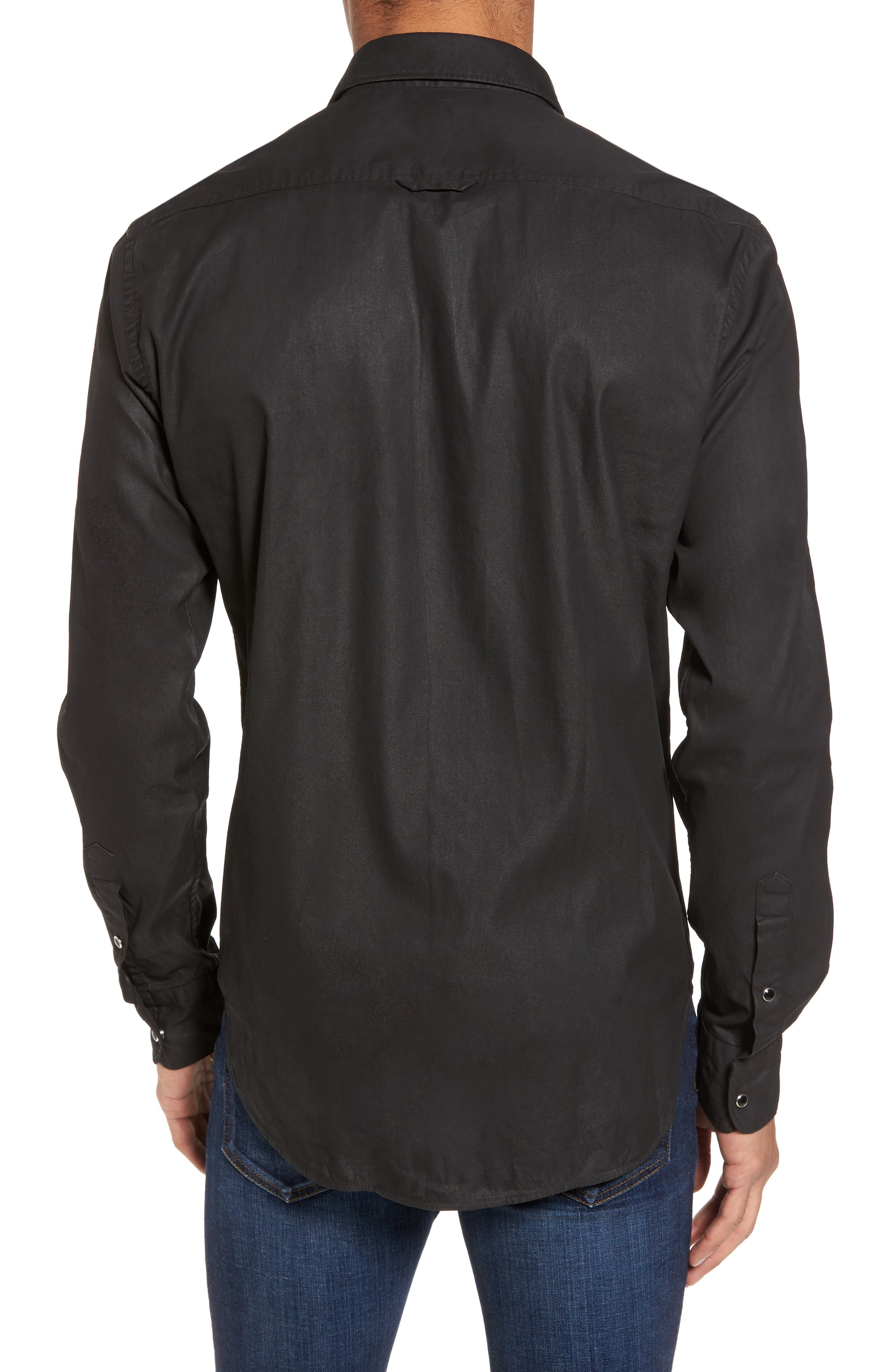 Alternate Image 2  - Culturata Trim Fit Resin Wash Denim Shirt