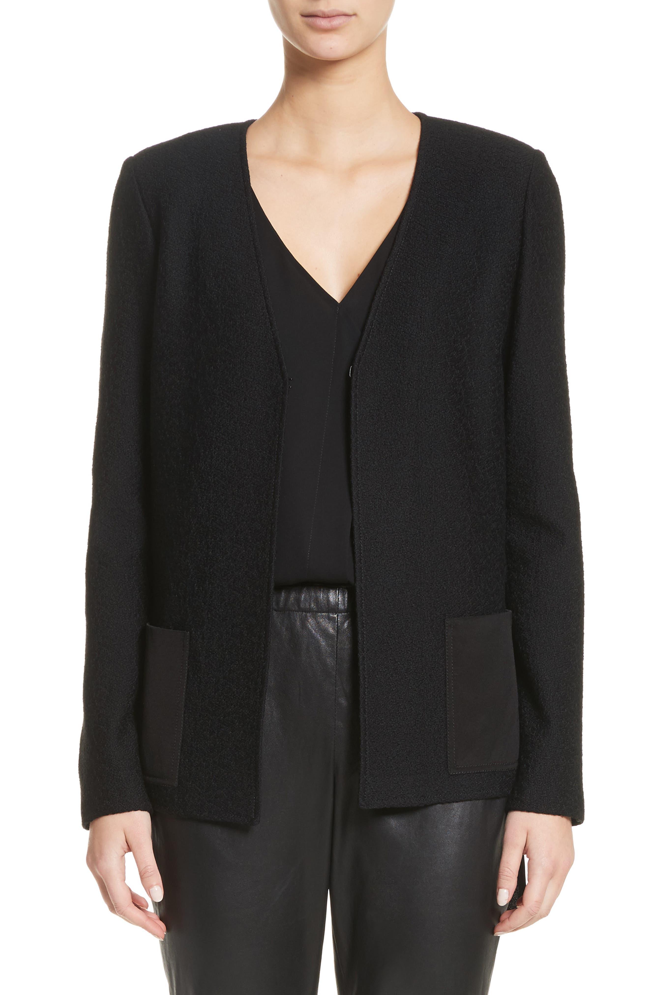 Hannah Knit A-Line Jacket,                         Main,                         color, Caviar