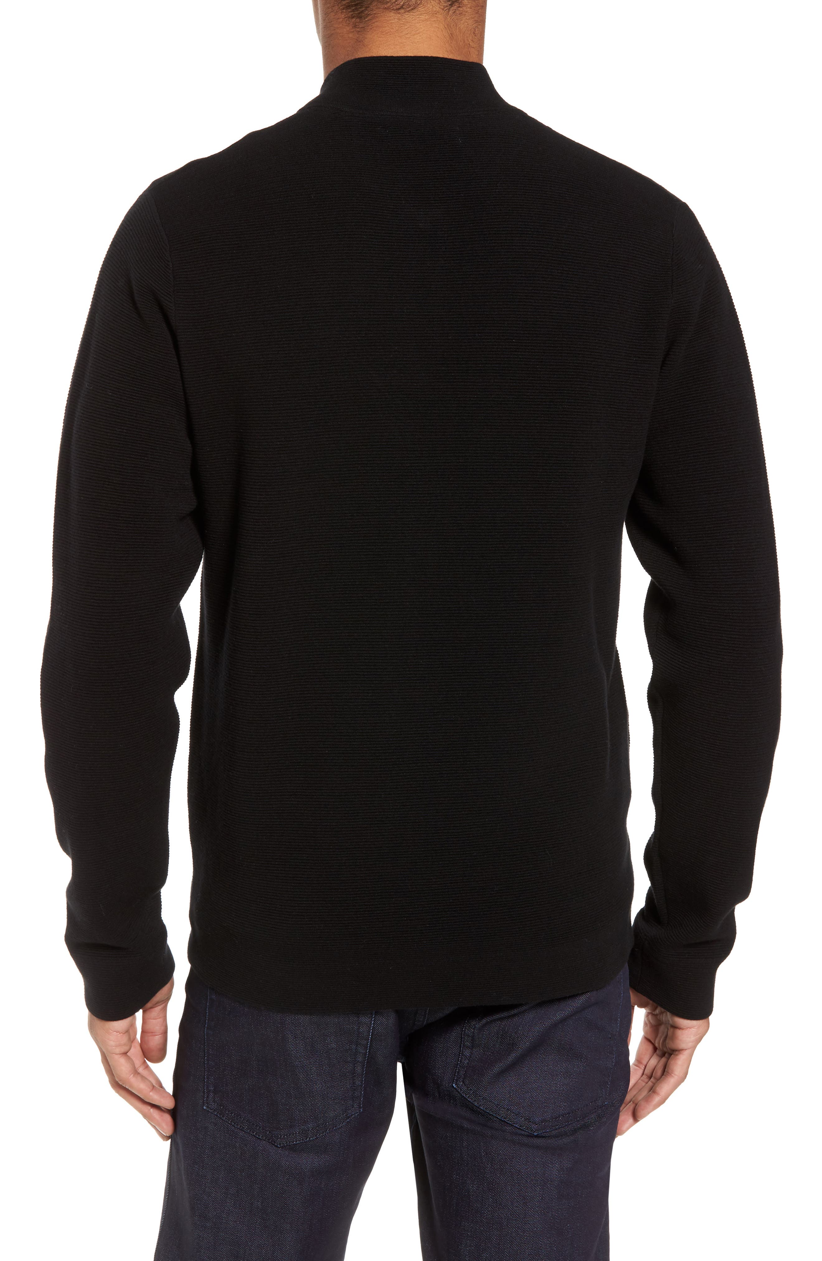Ottoman Zip Cardigan,                             Alternate thumbnail 2, color,                             Black