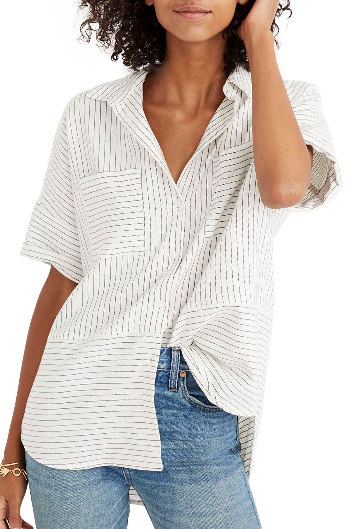 Flannel Courier Shirt,                         Main,                         color, Bright Ivory Jones Stripe