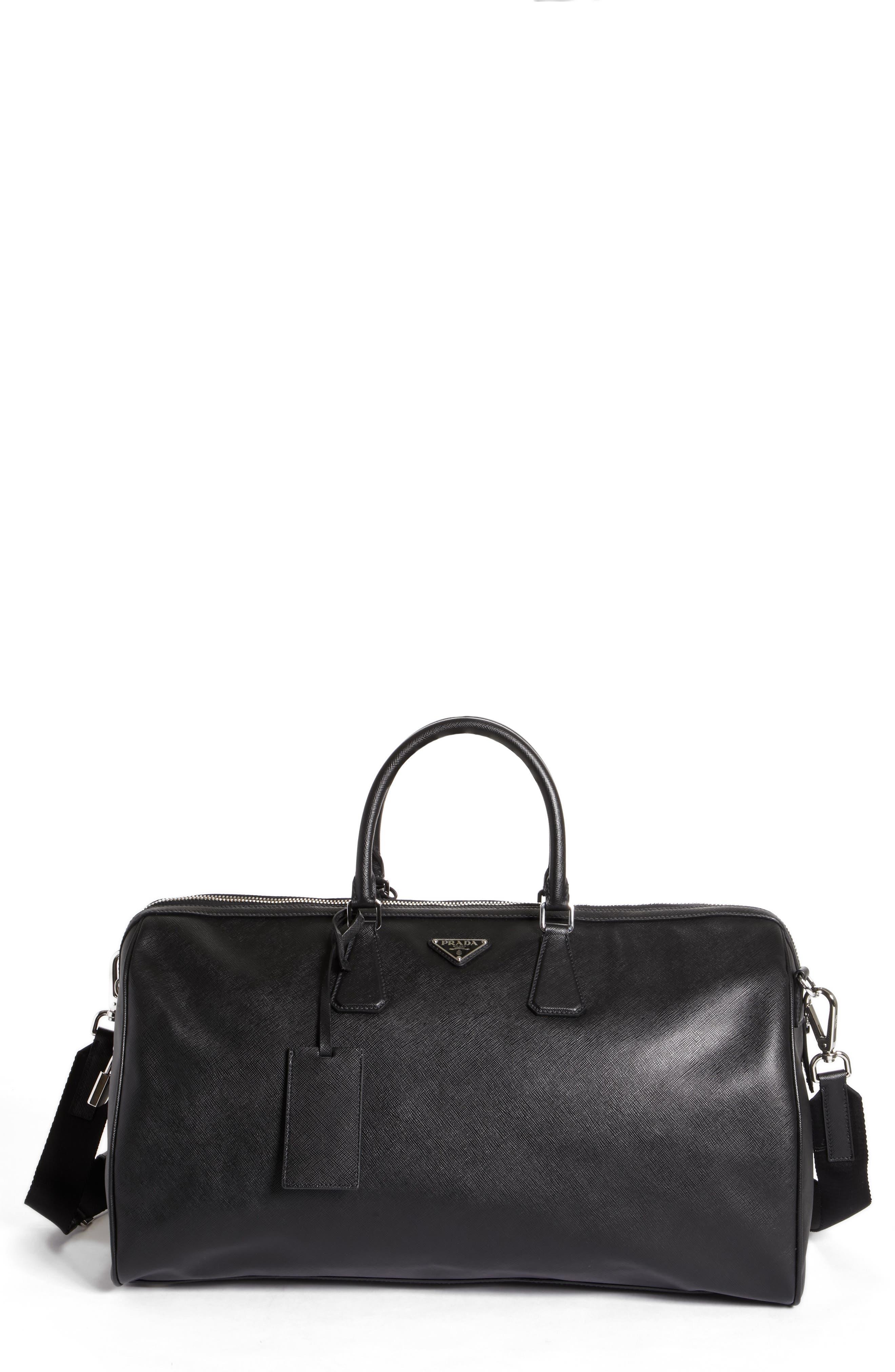 Saffiano Leather Duffel Bag,                             Main thumbnail 1, color,                             F0002 Nero