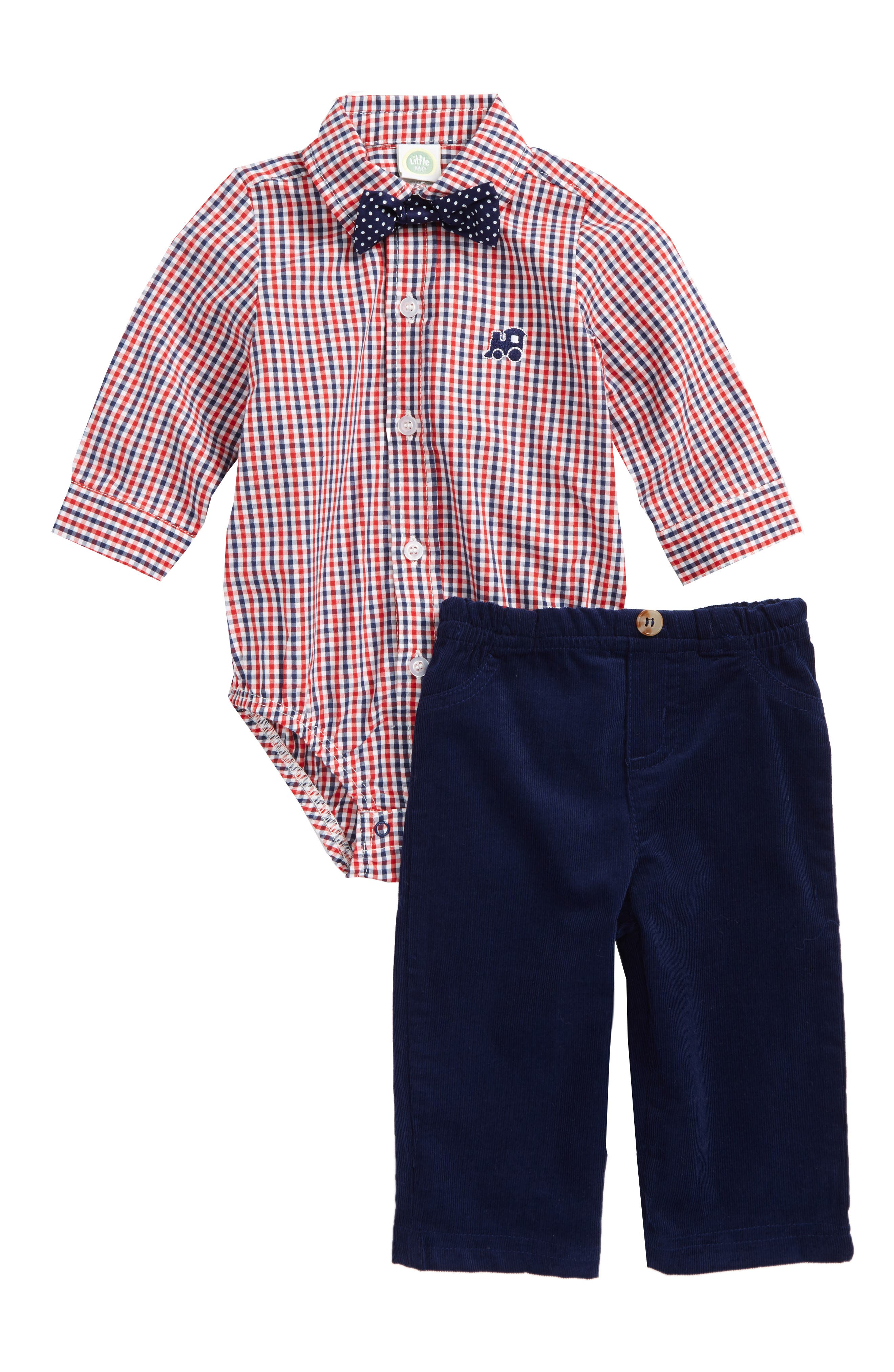 Little Me Train Bodysuit, Tie & Pants Set (Baby Boys)