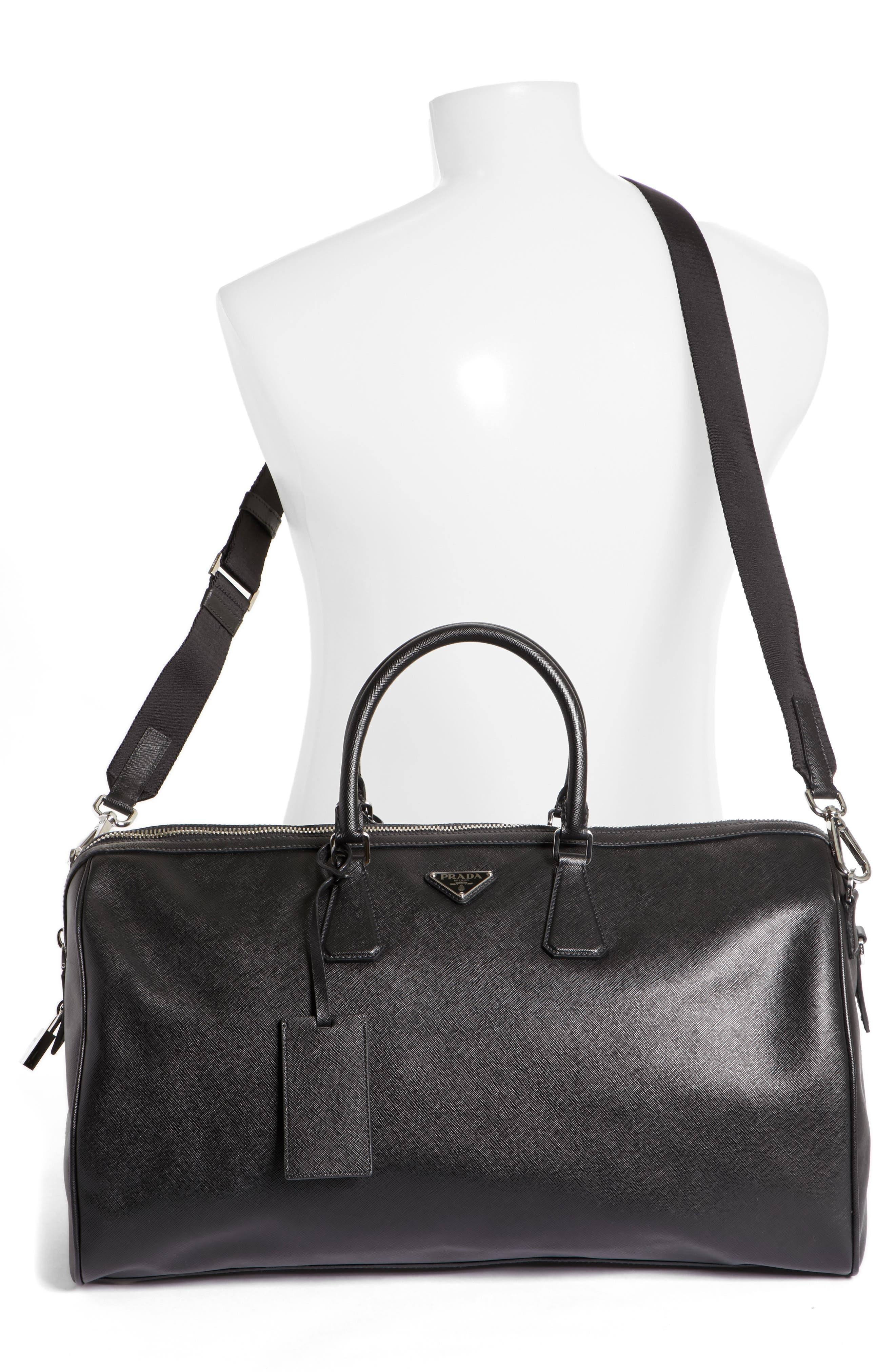Saffiano Leather Duffel Bag,                             Alternate thumbnail 2, color,                             F0002 Nero