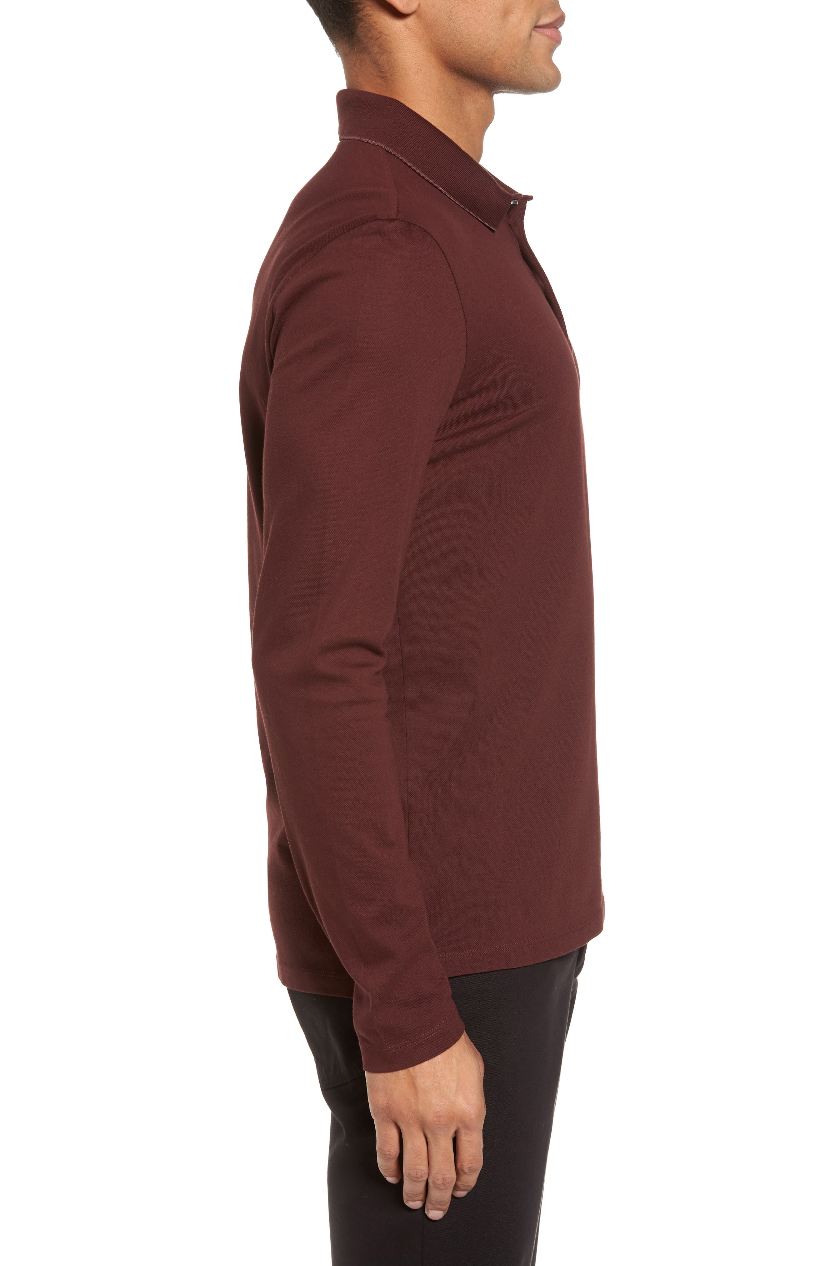 Pleins Slim Fit Long Sleeve Polo,                             Alternate thumbnail 3, color,                             Red
