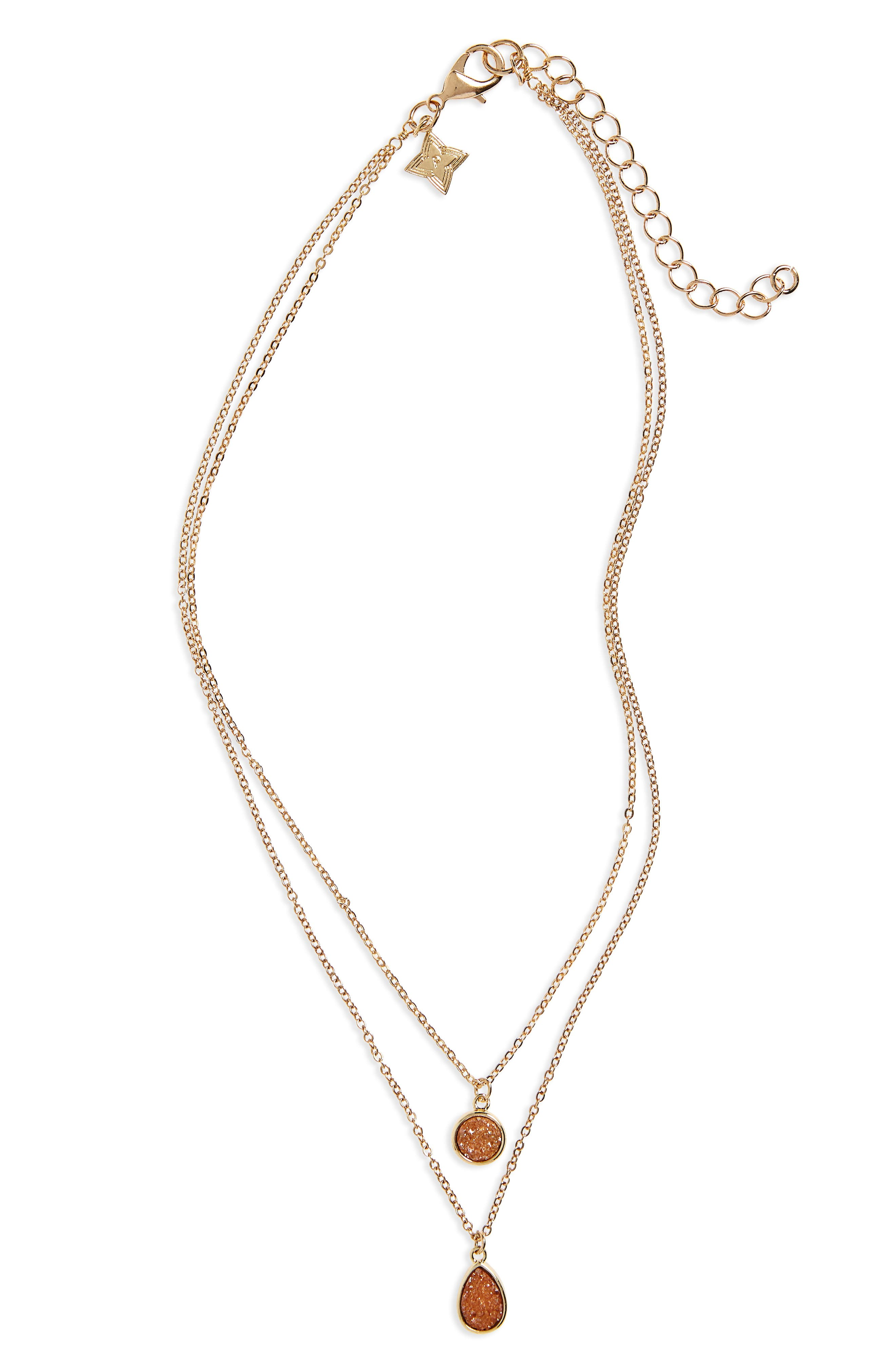 Drusy Multistrand Necklace,                         Main,                         color, Peach