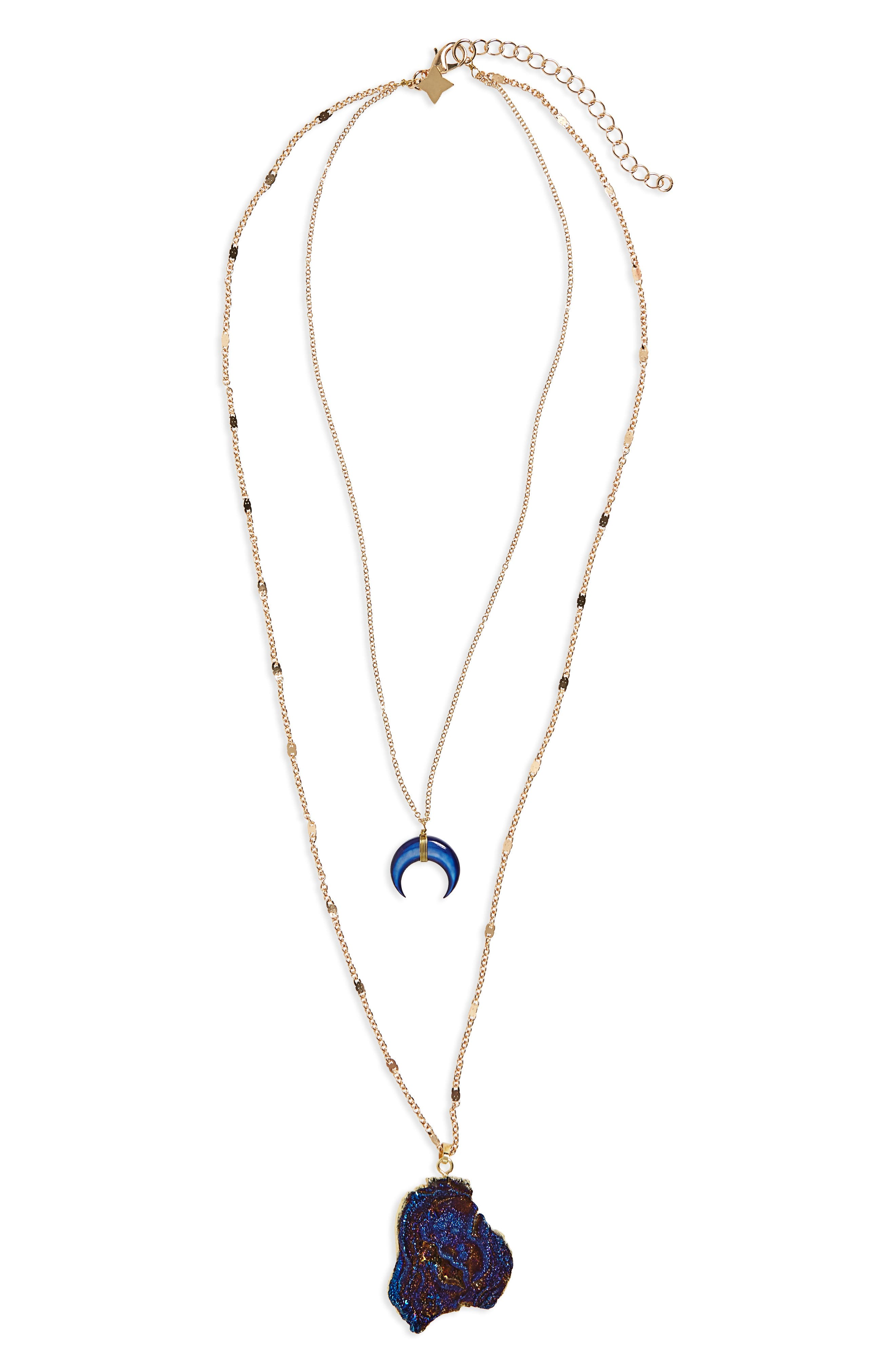 Drusy Layered Necklace,                         Main,                         color, Navy