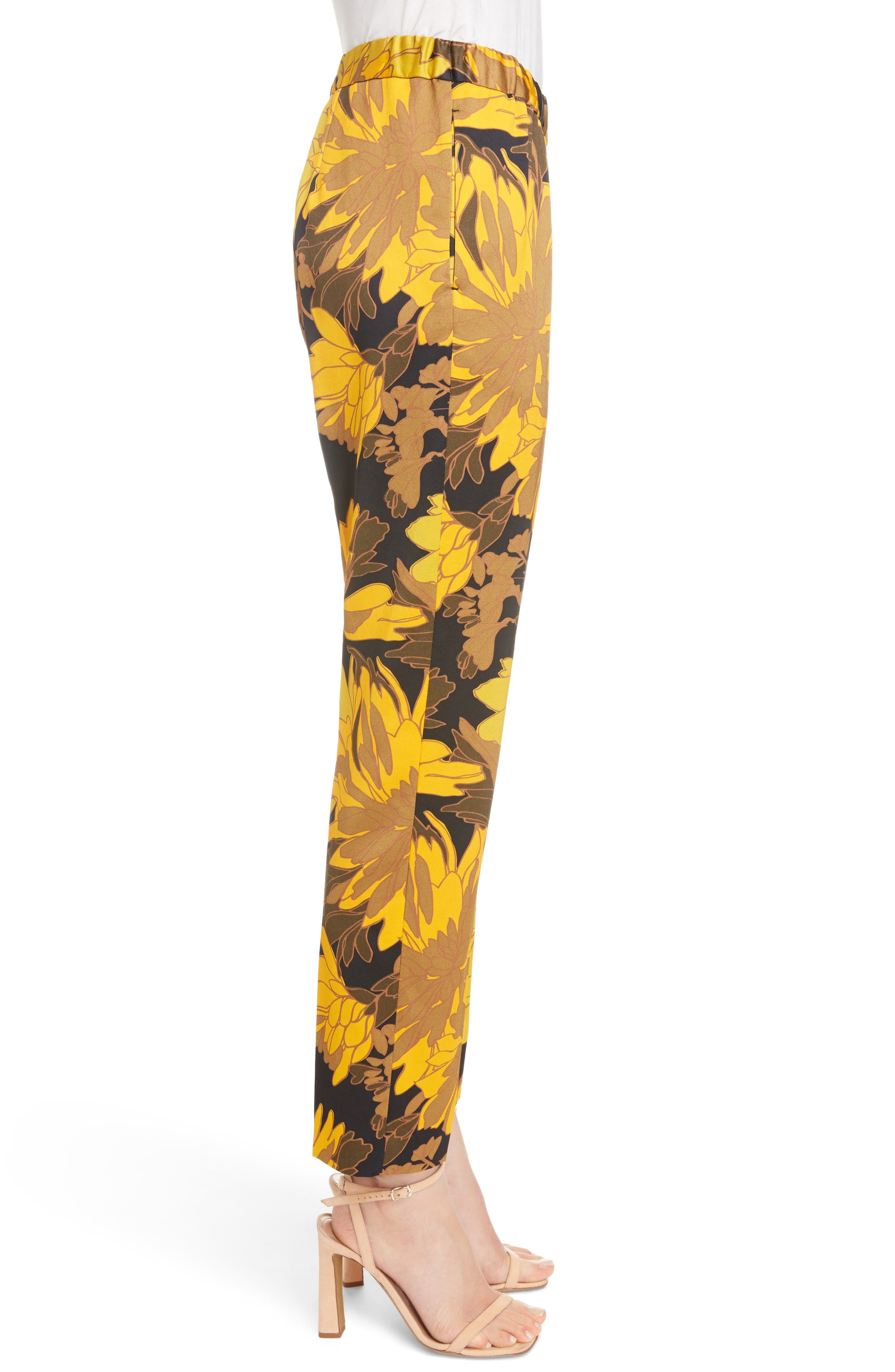 Print Ankle Pants,                             Alternate thumbnail 4, color,                             Yellow