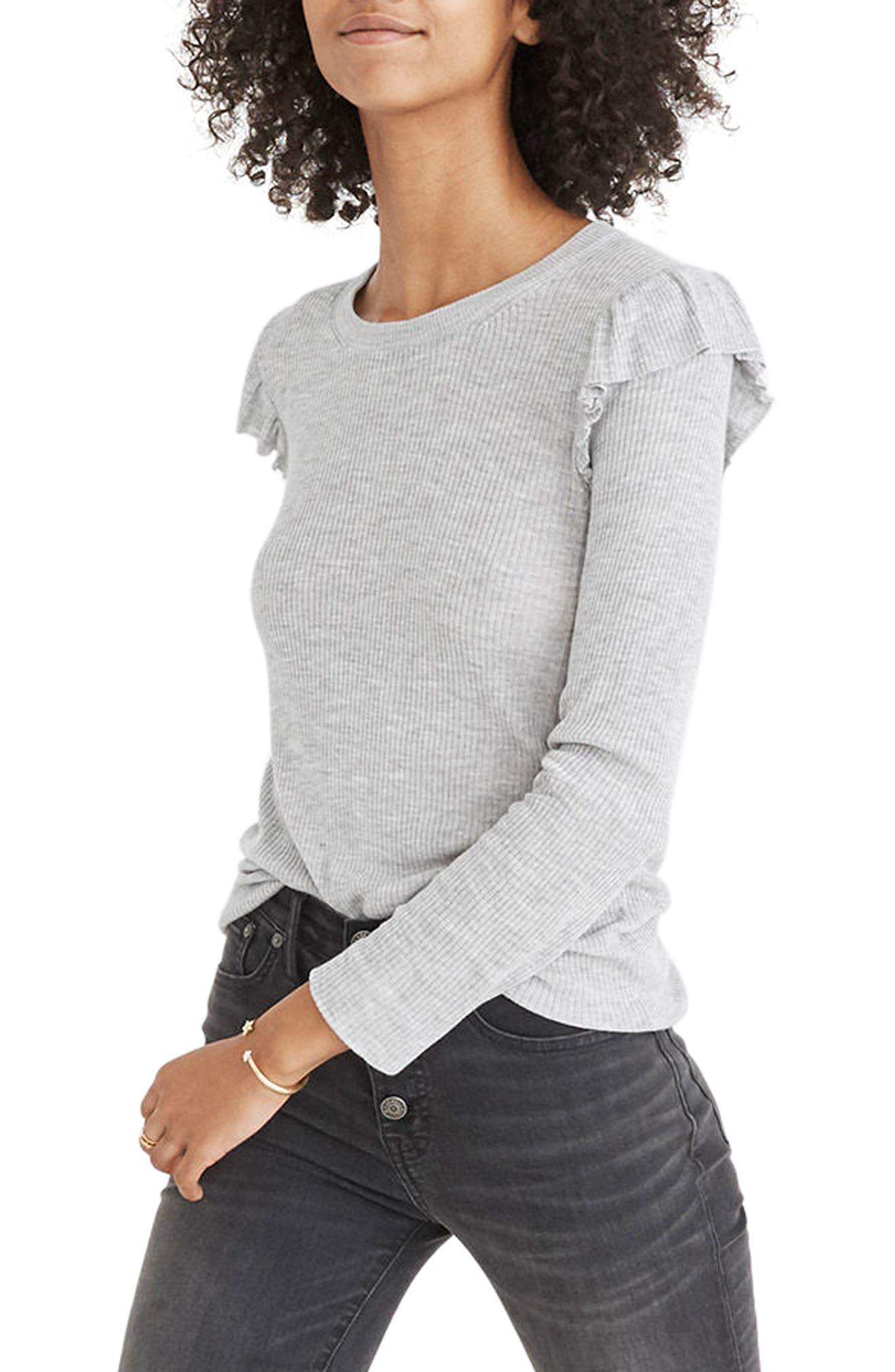 Ruffle Sleeve Pullover Sweater,                             Alternate thumbnail 3, color,                             Heather Nickle