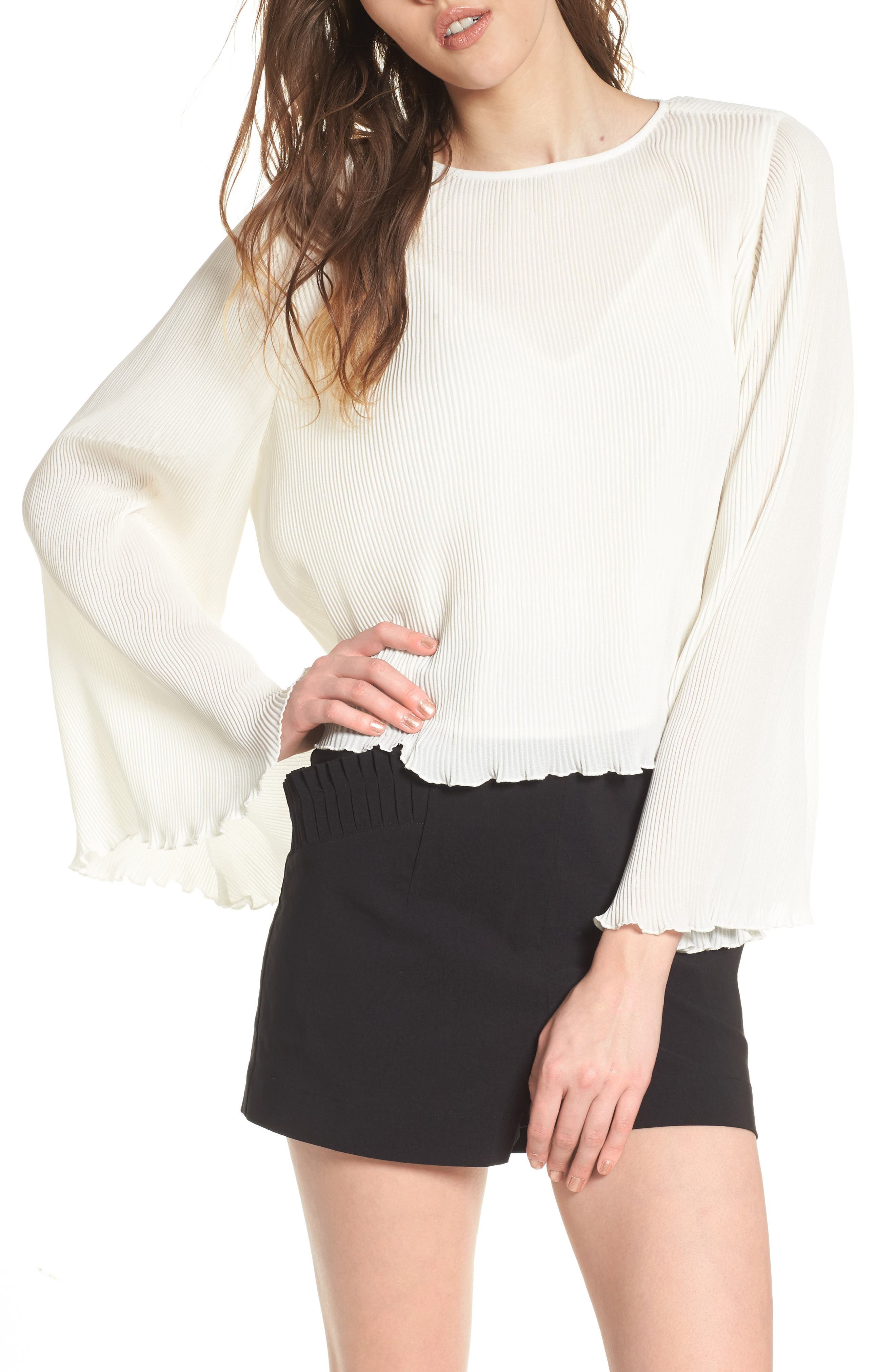 Pleated Bell Sleeve Top,                         Main,                         color, Ivory
