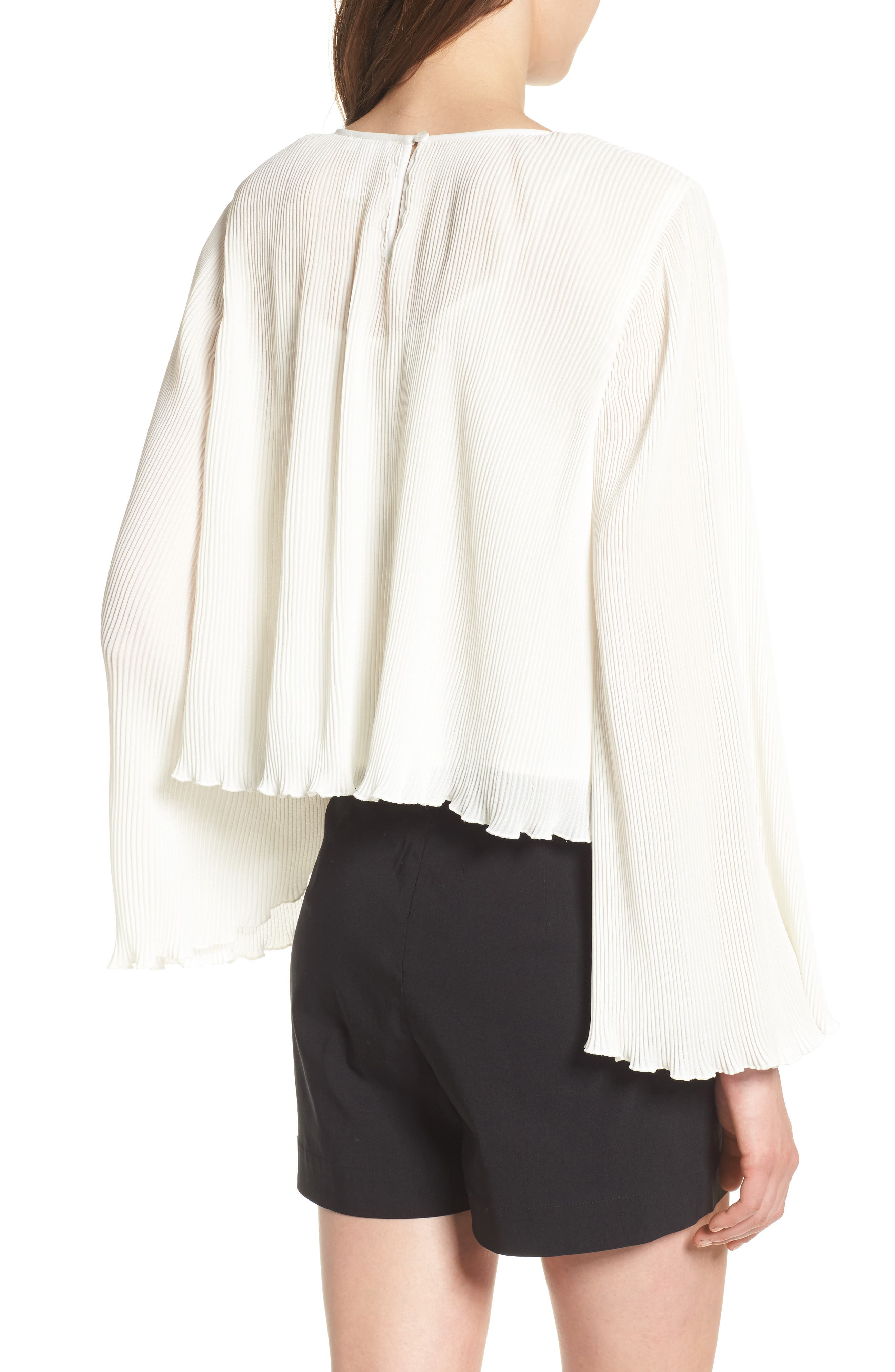Pleated Bell Sleeve Top,                             Alternate thumbnail 2, color,                             Ivory