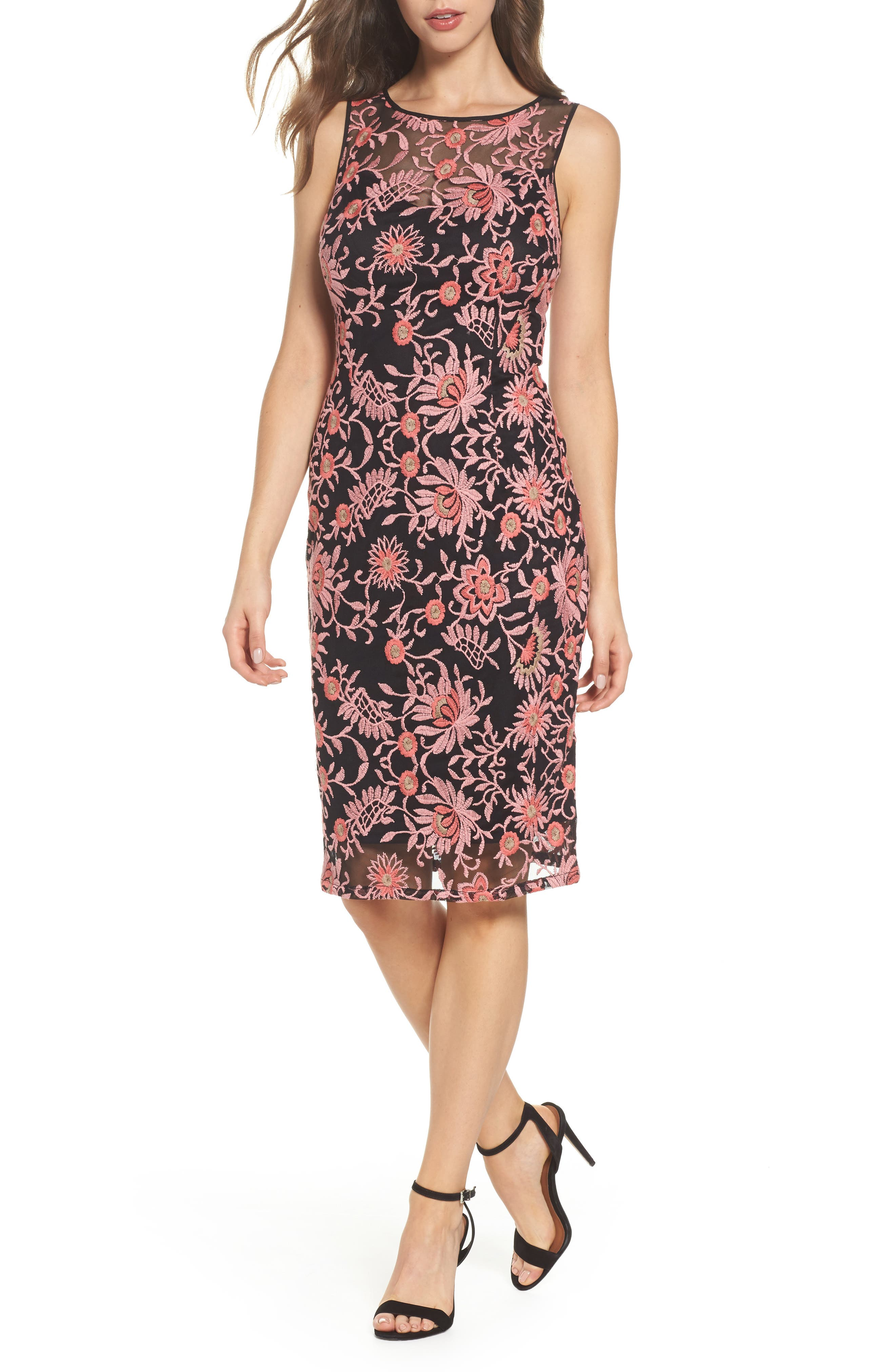 Main Image - Adrianna Papell Embroidered Sheath Dress