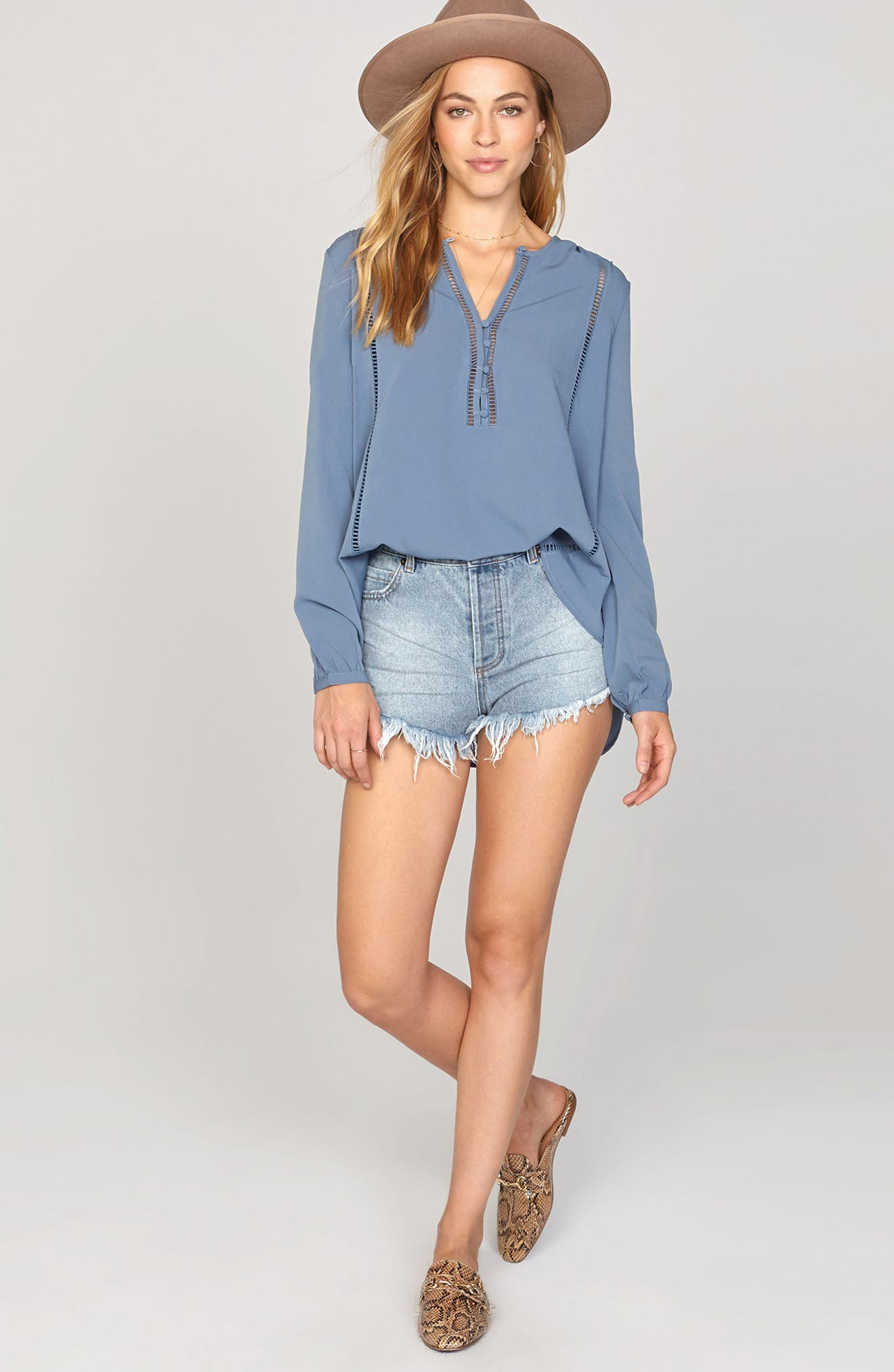 Pretty Young Thing Blouse,                             Alternate thumbnail 3, color,                             Riviera Blue