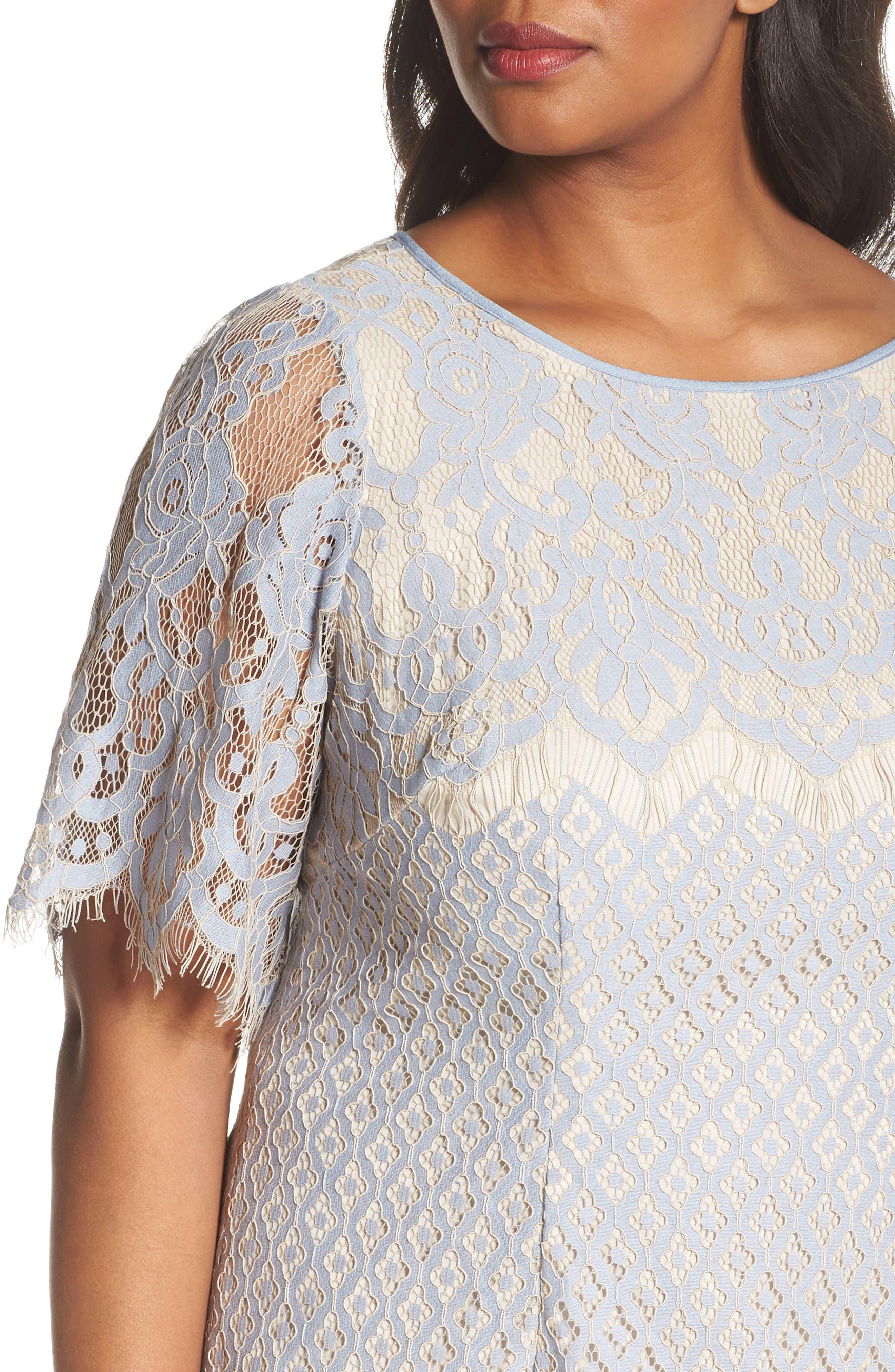 Bell Sleeve Georgia Lace Sheath Dress,                             Alternate thumbnail 4, color,                             Sky/ Cadmium
