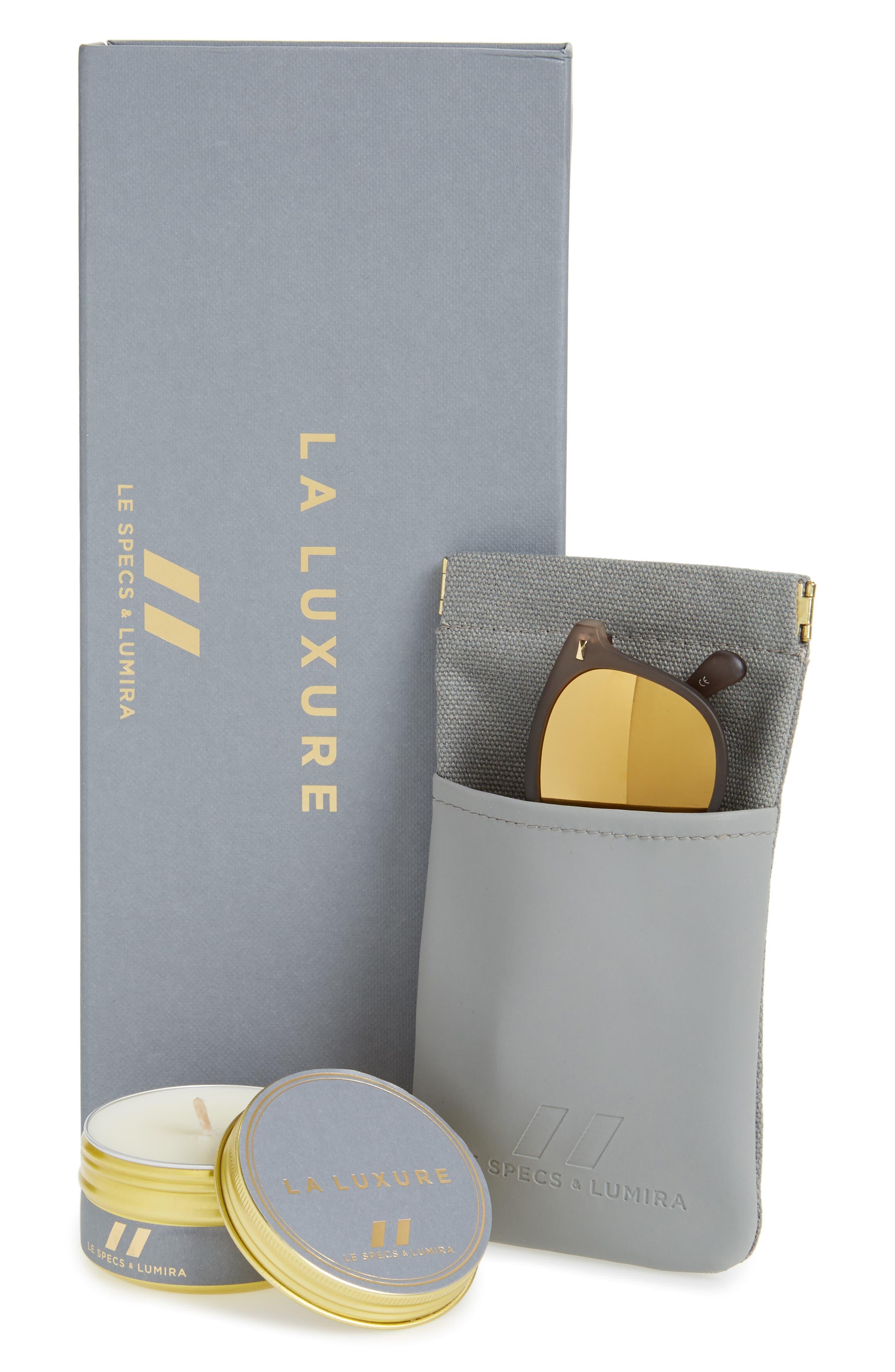 Alternate Image 2  - Le Specs x Lumira Bandwagon 51mm Sunglasses & Candle Gift Set