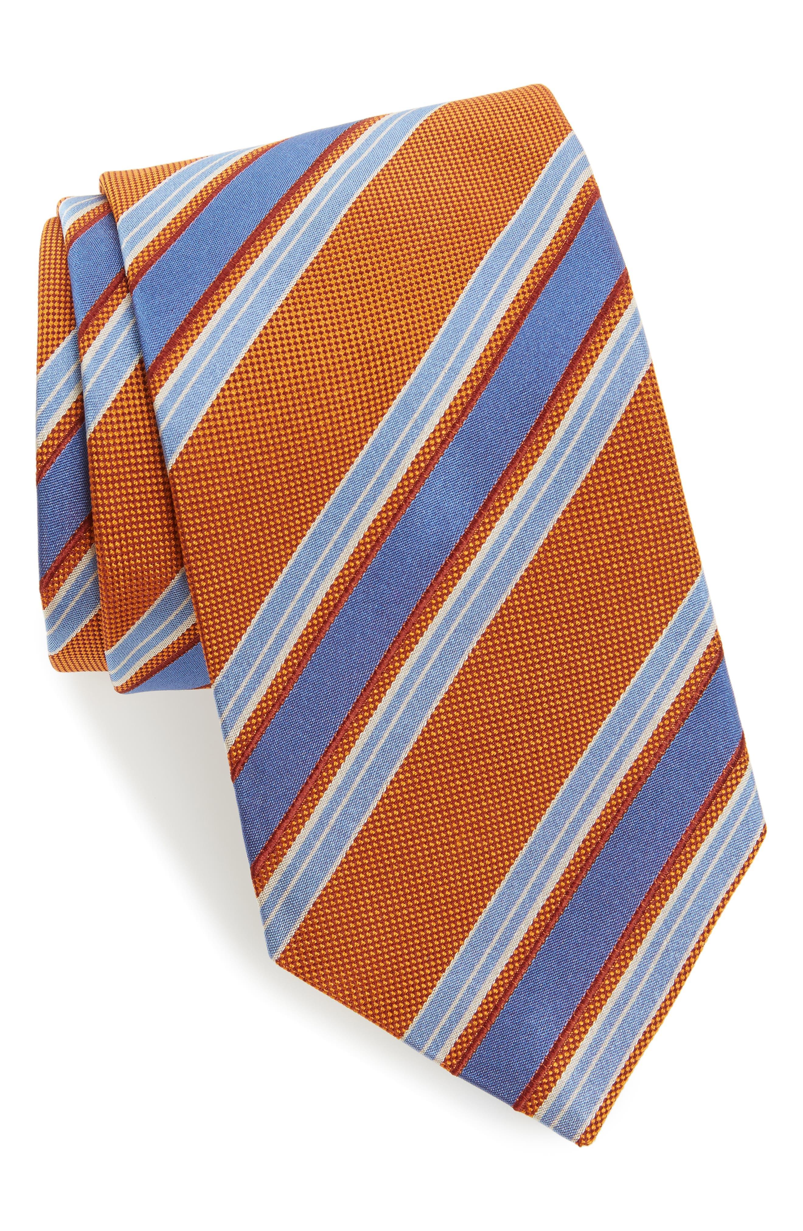 Stripe Silk Tie,                             Main thumbnail 1, color,                             Pumpkin