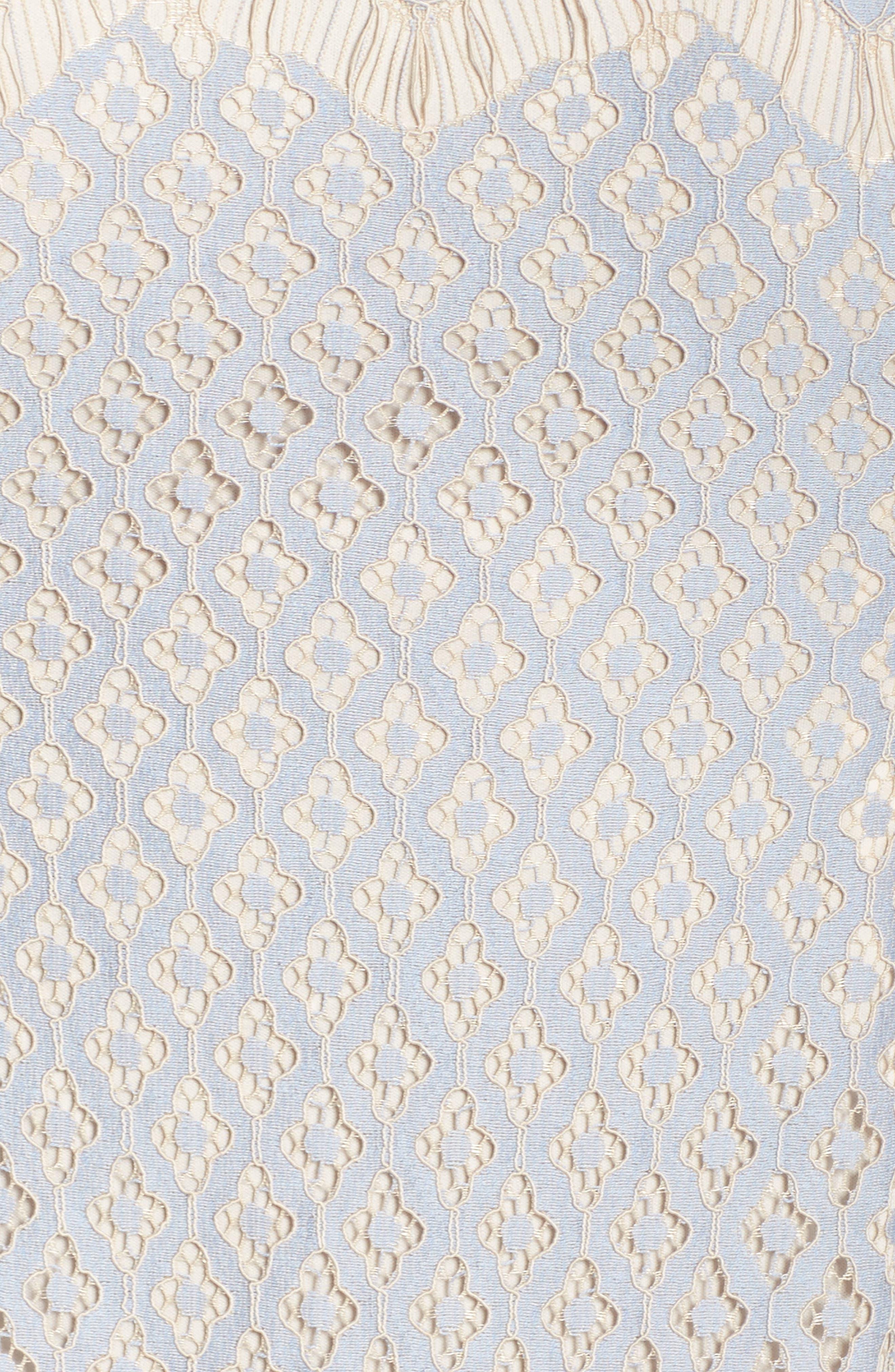 Bell Sleeve Georgia Lace Sheath Dress,                             Alternate thumbnail 5, color,                             Sky/ Cadmium