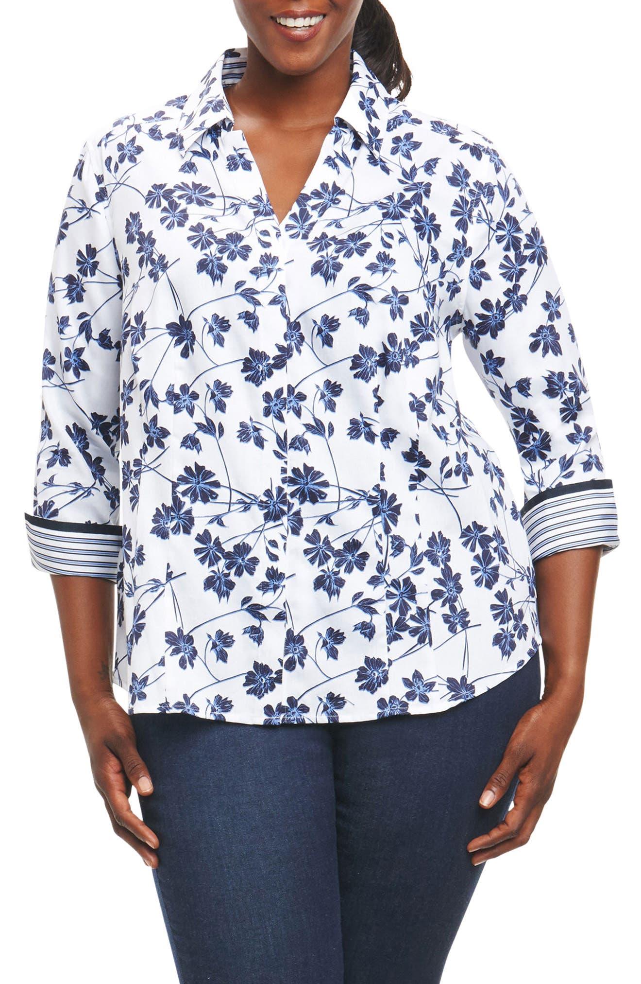 Alternate Image 1 Selected - Foxcroft Taylor Floral Print Shirt (Plus Size)