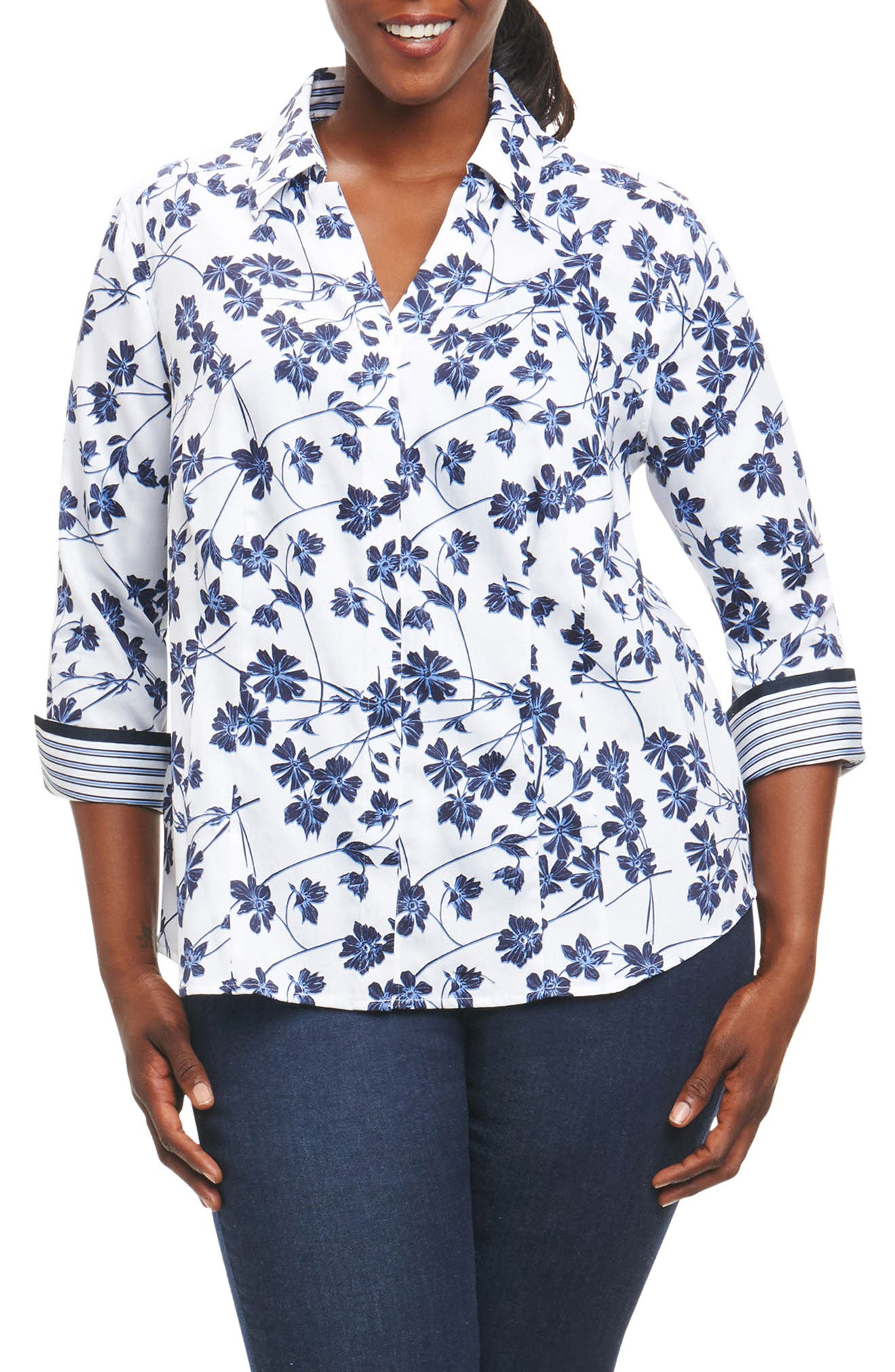 Main Image - Foxcroft Taylor Floral Print Shirt (Plus Size)