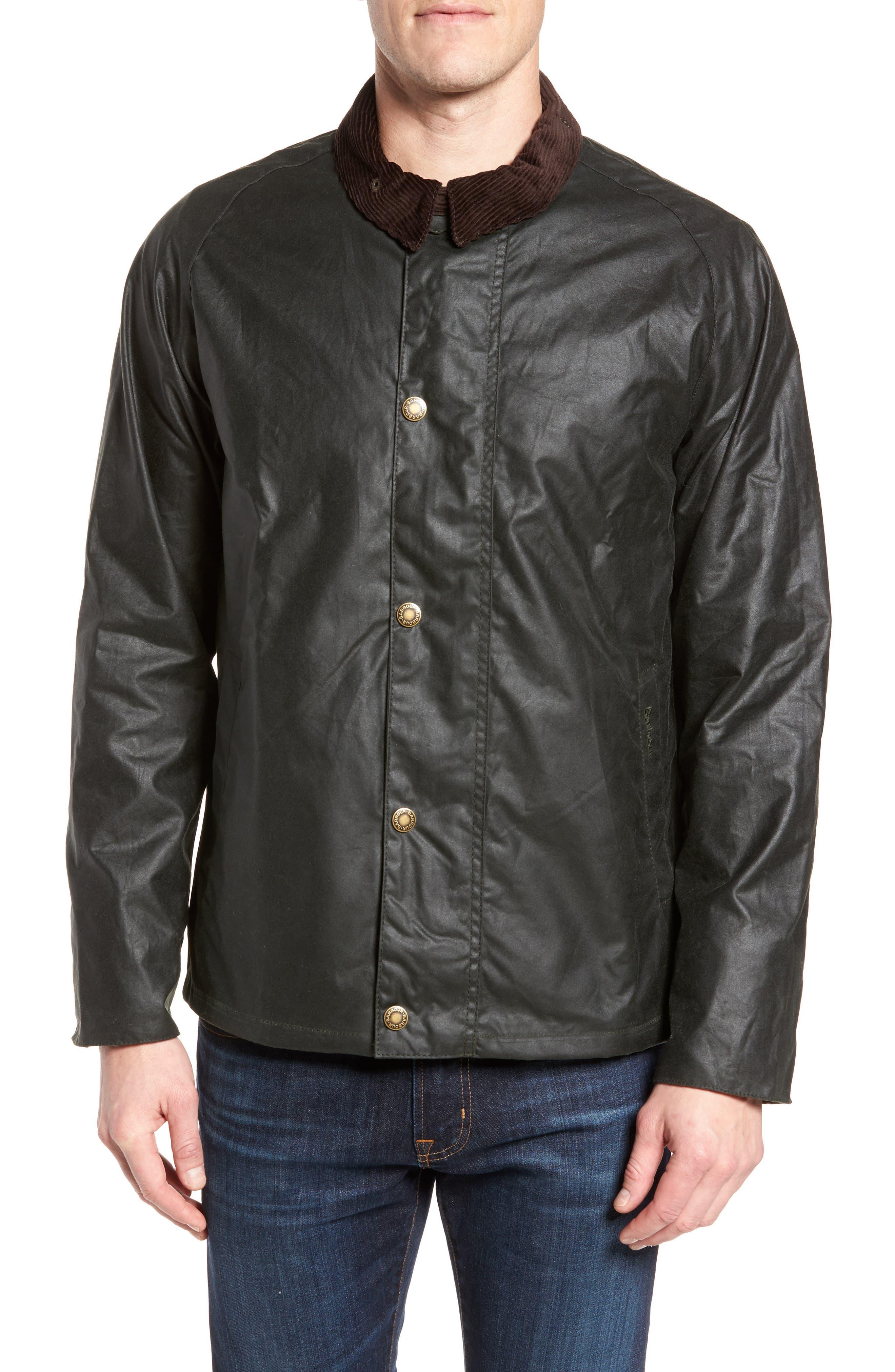 Heskin Waxed Cotton Jacket,                             Alternate thumbnail 4, color,                             Sage