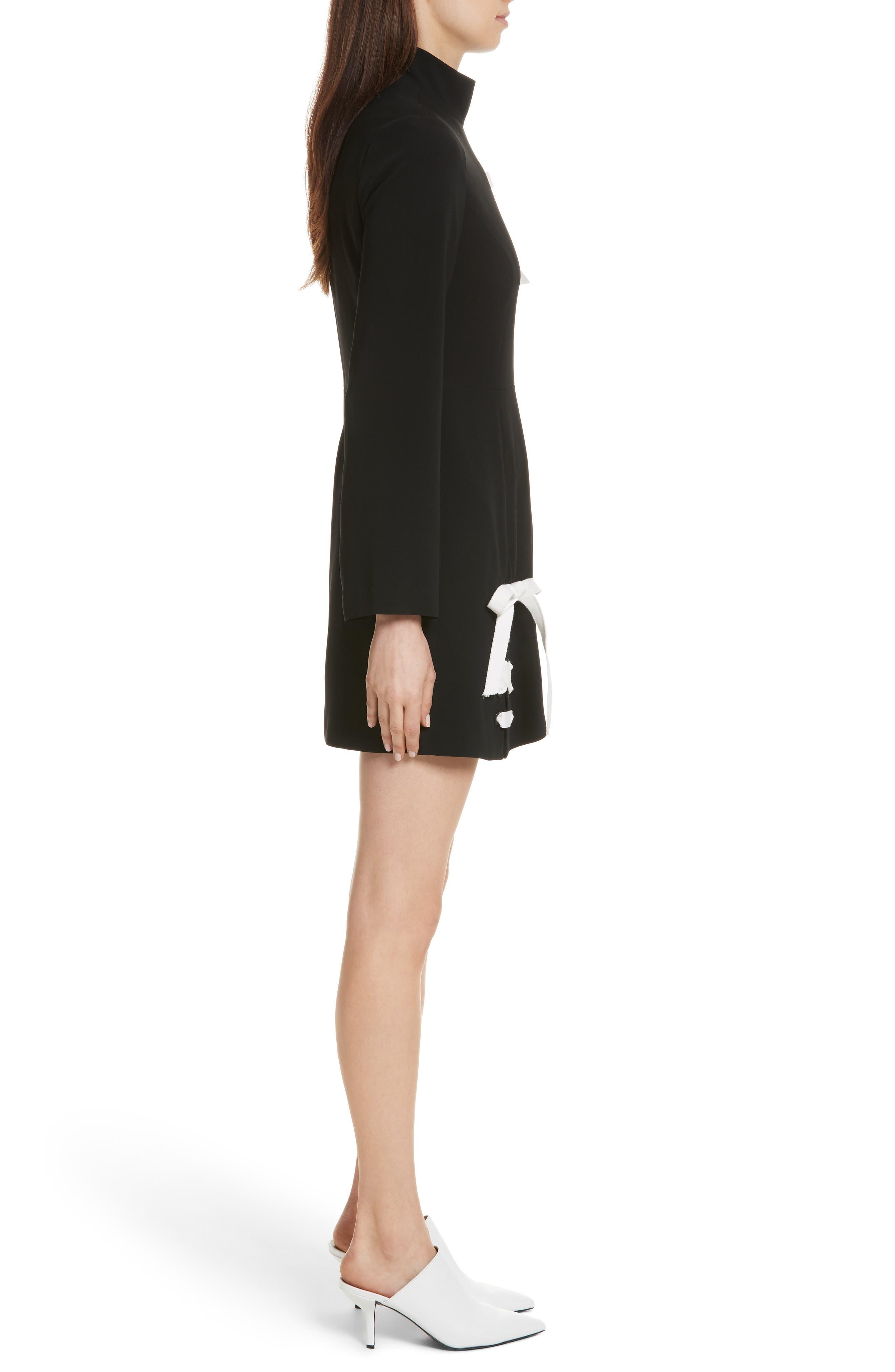 Izella Crepe Minidress,                             Alternate thumbnail 3, color,                             Black/ Ivory