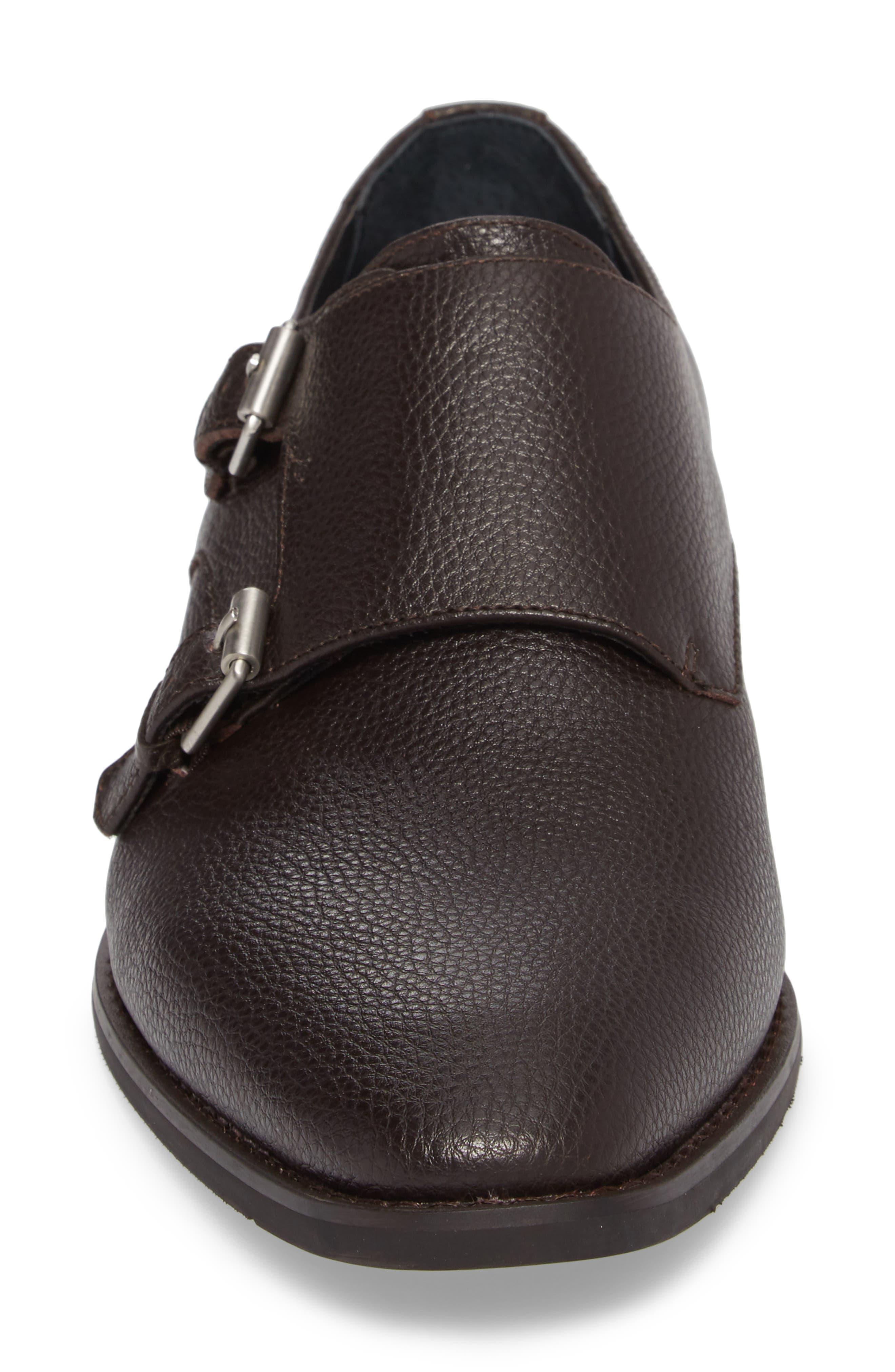 Robbie Double Monk Strap Shoe,                             Alternate thumbnail 4, color,                             Dark Brown Leather