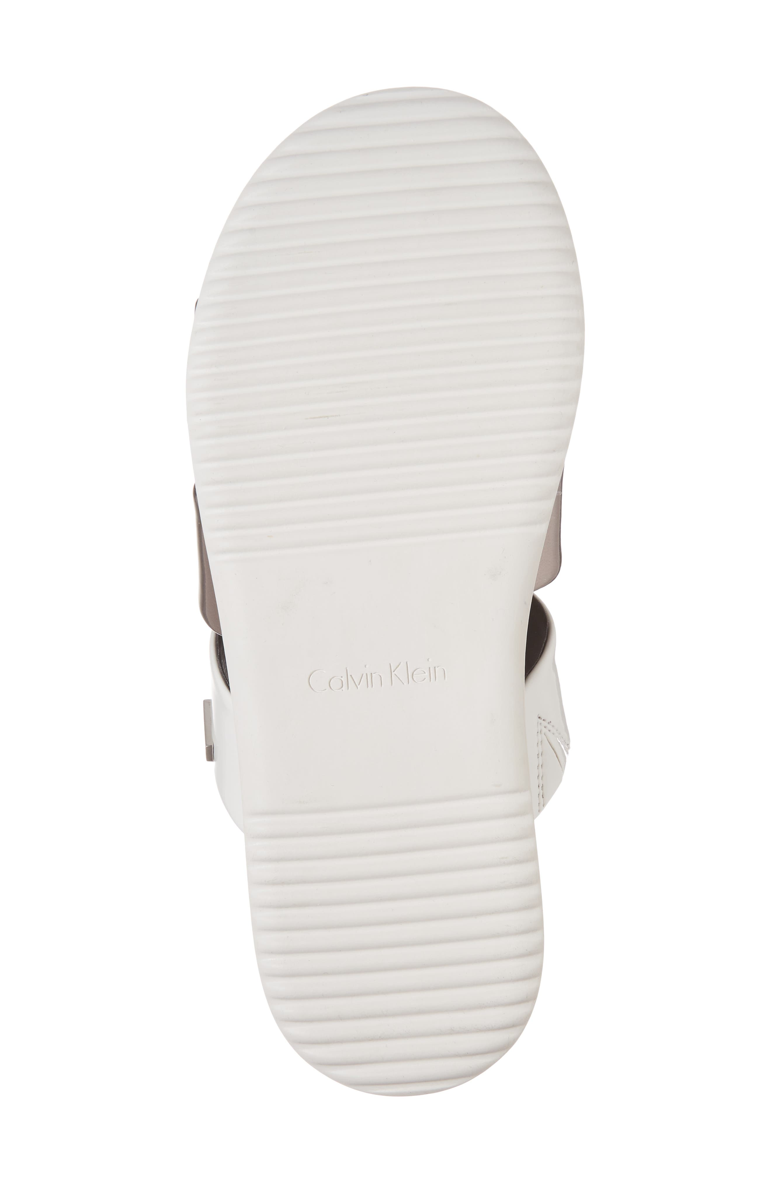 Dalana Slide Sandal,                             Alternate thumbnail 6, color,                             Black/ Pewter Faux Leather