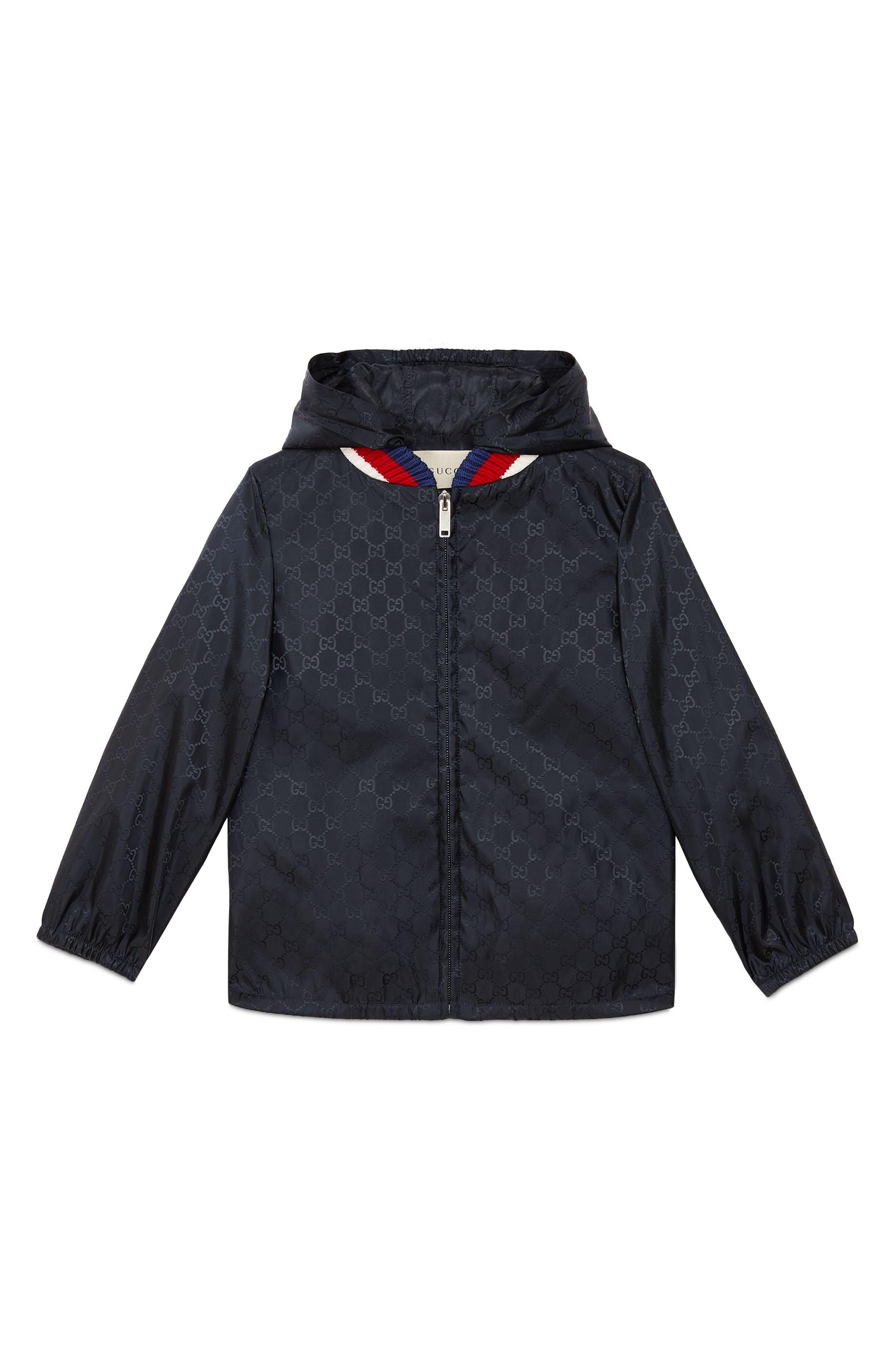 Logo Hooded Nylon Jacket,                         Main,                         color, Blue Multi