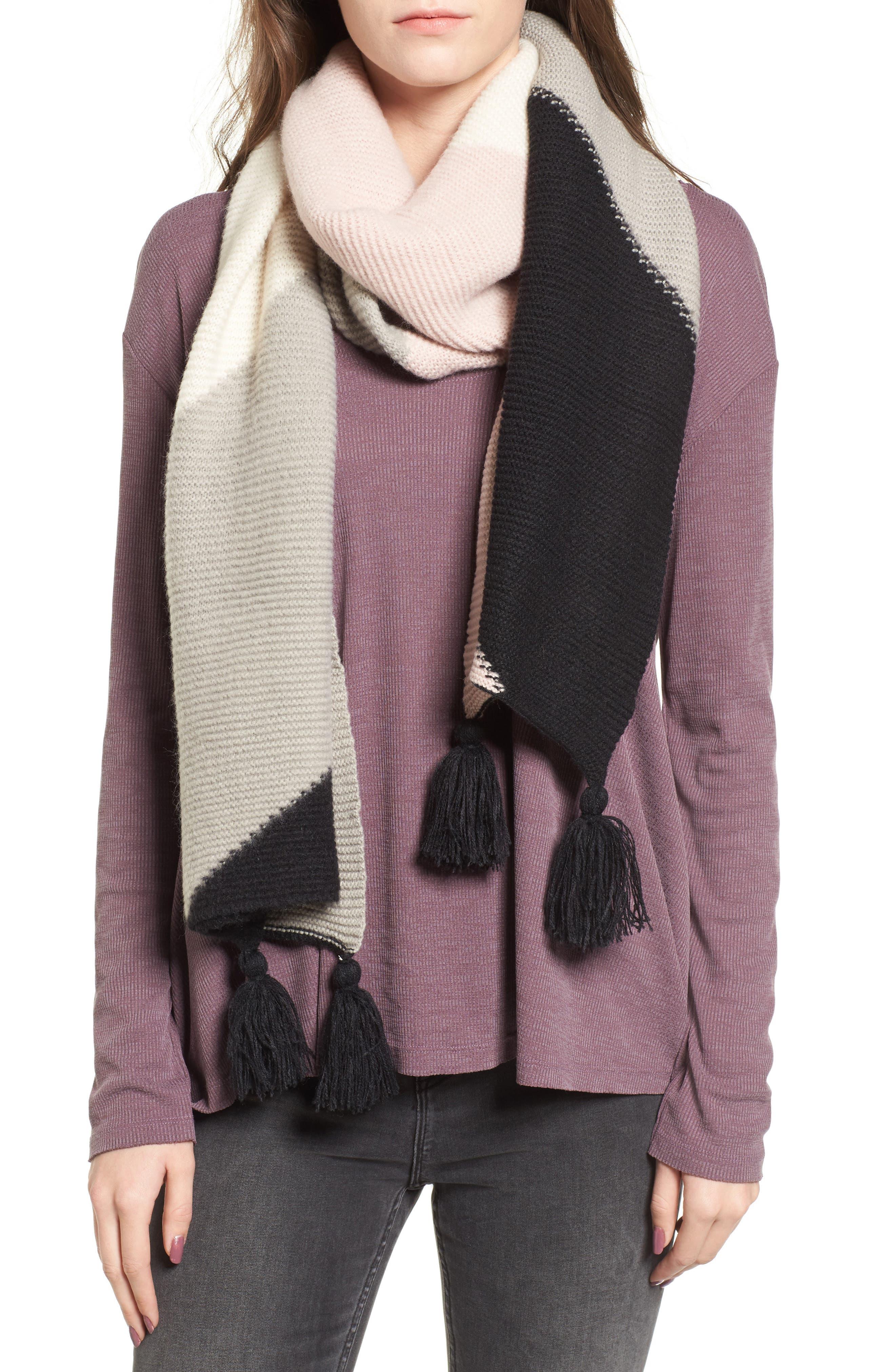 Geo Tassel Knit Scarf,                         Main,                         color, Pink Multi
