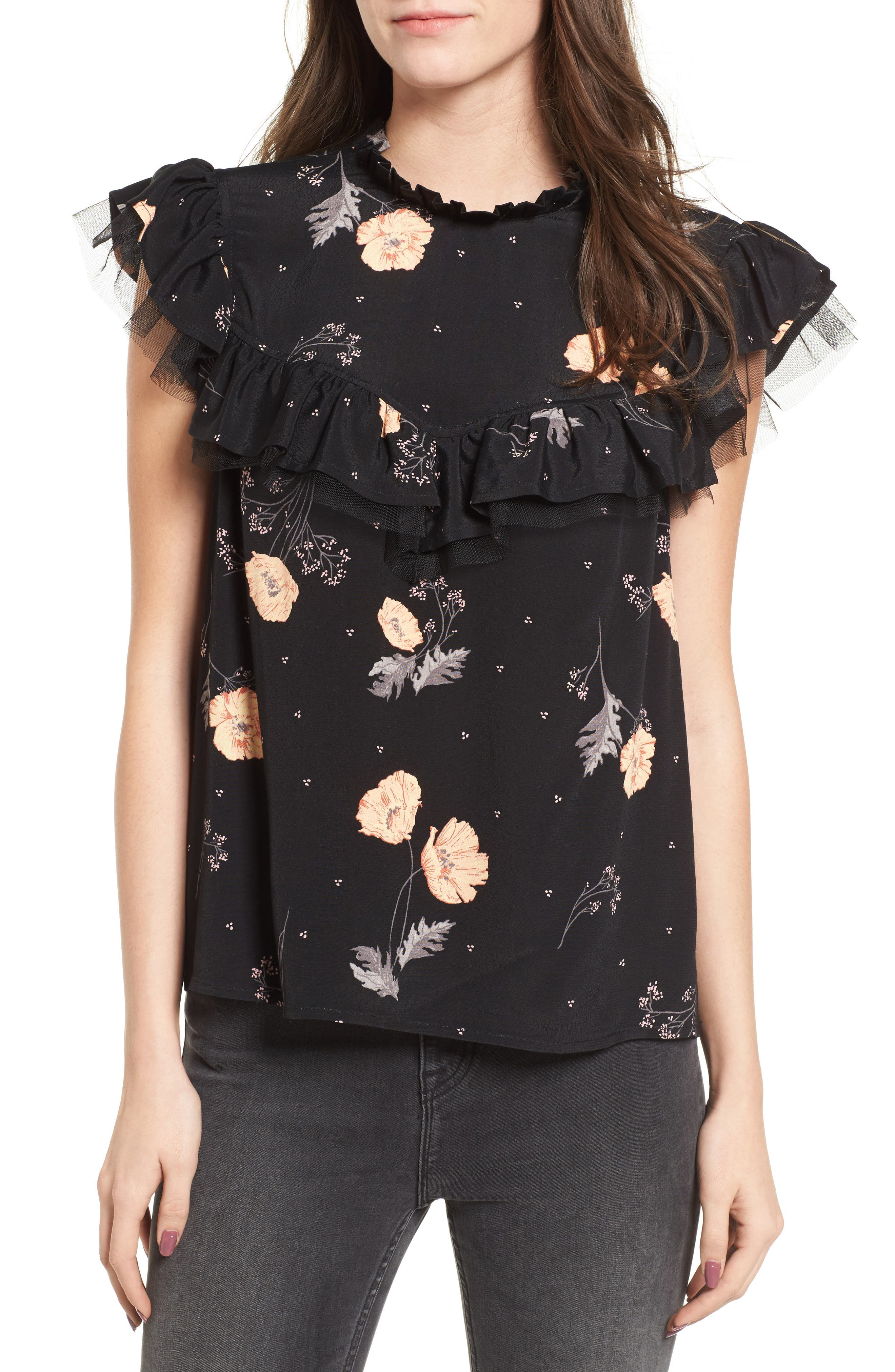 Ruffle Neck Top,                         Main,                         color, Black Spring Bloom