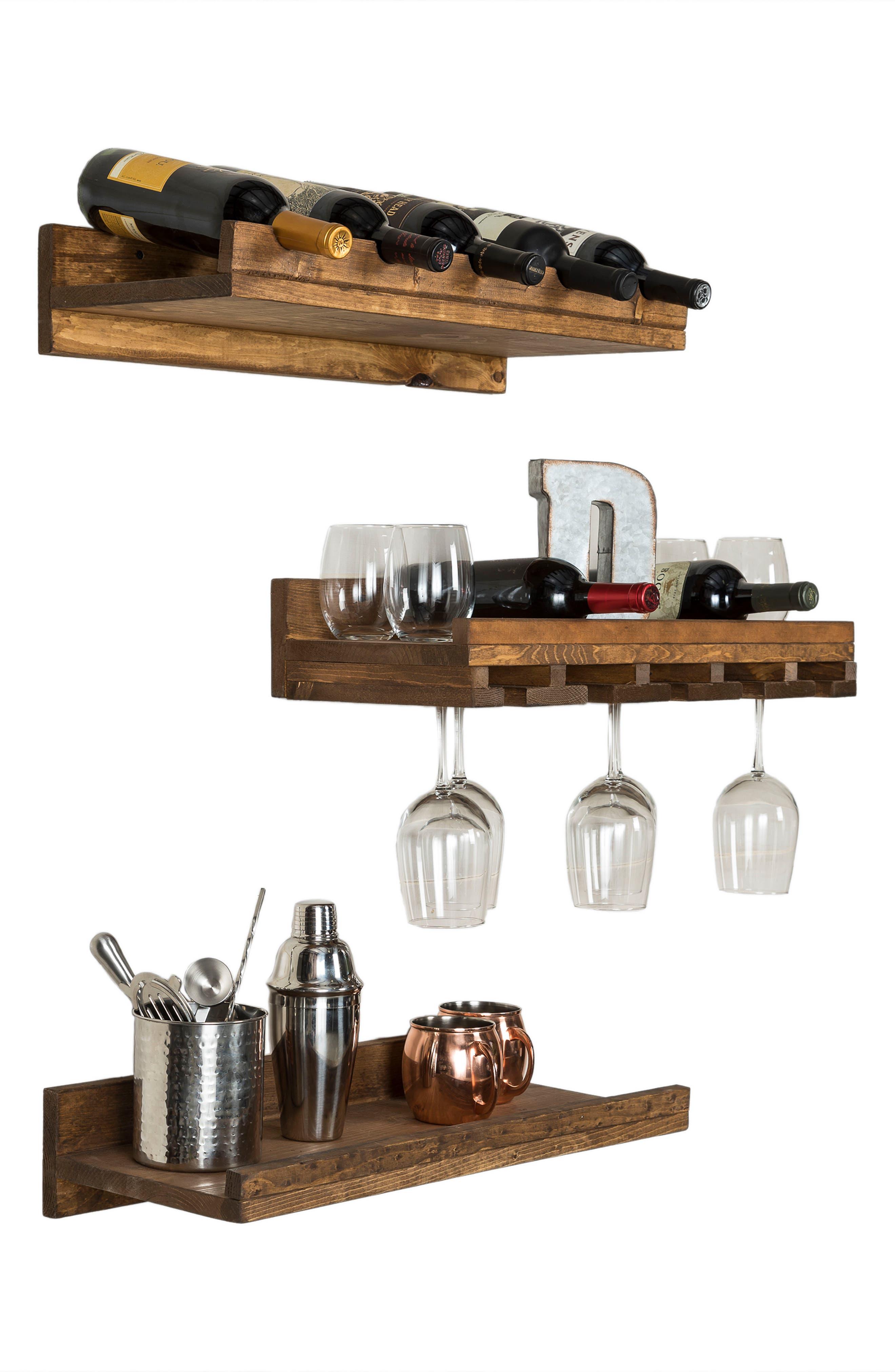 Set of 3 Pine Wood Wine Racks,                             Alternate thumbnail 9, color,                             Dark Walnut