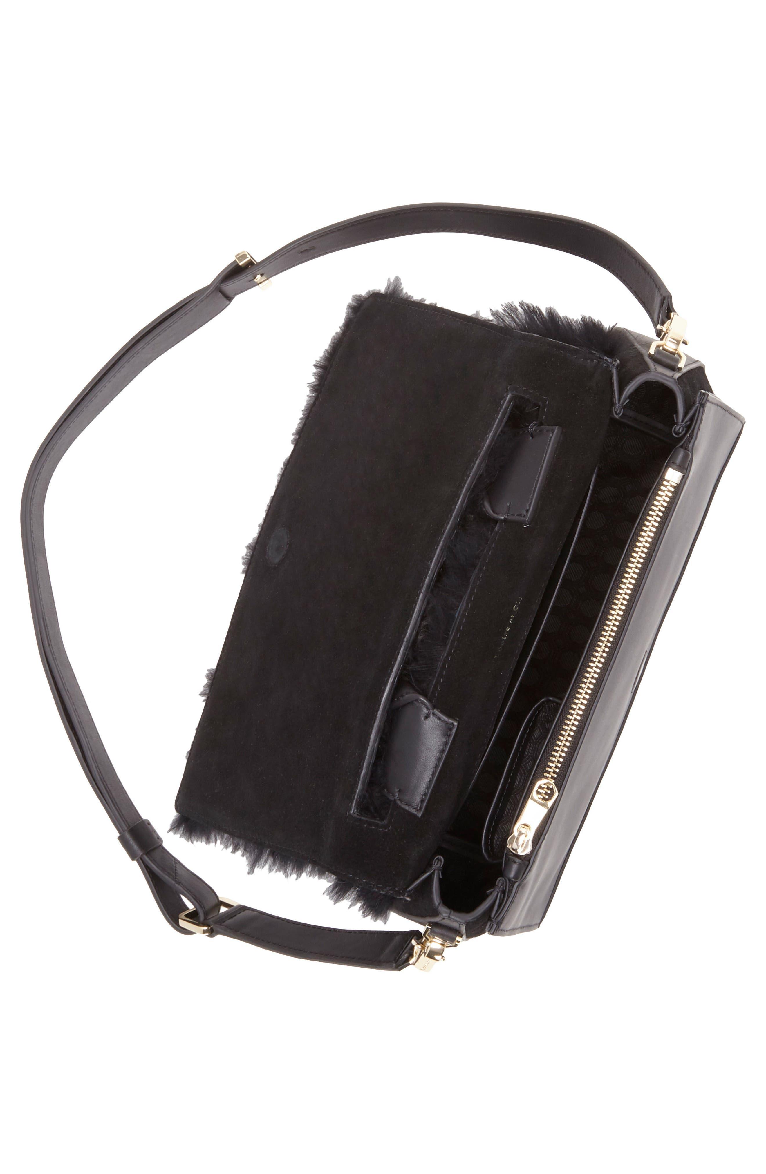 Tysse Leather & Genuine Rabbit Fur Satchel,                             Alternate thumbnail 3, color,                             Black