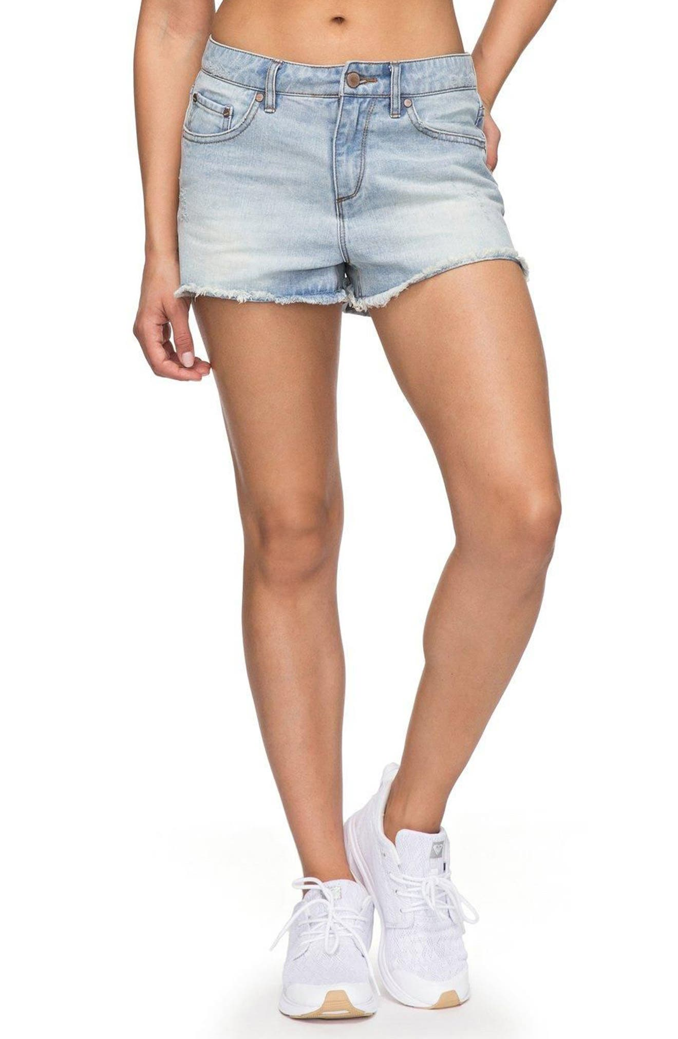 Main Image - Roxy Little Abaco Cutoff Denim Shorts