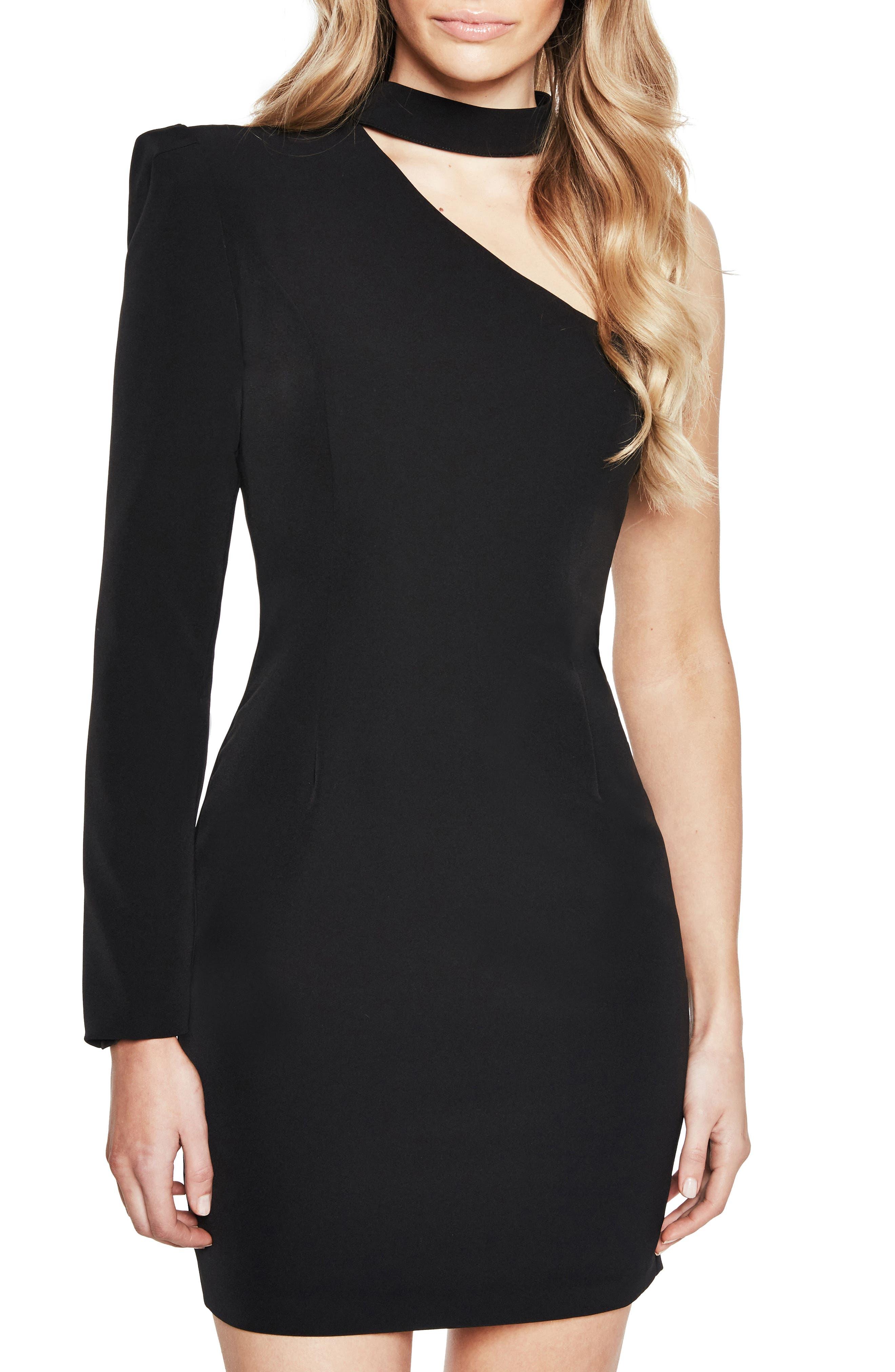 Willow One-Shoulder Choker Dress,                         Main,                         color, Black