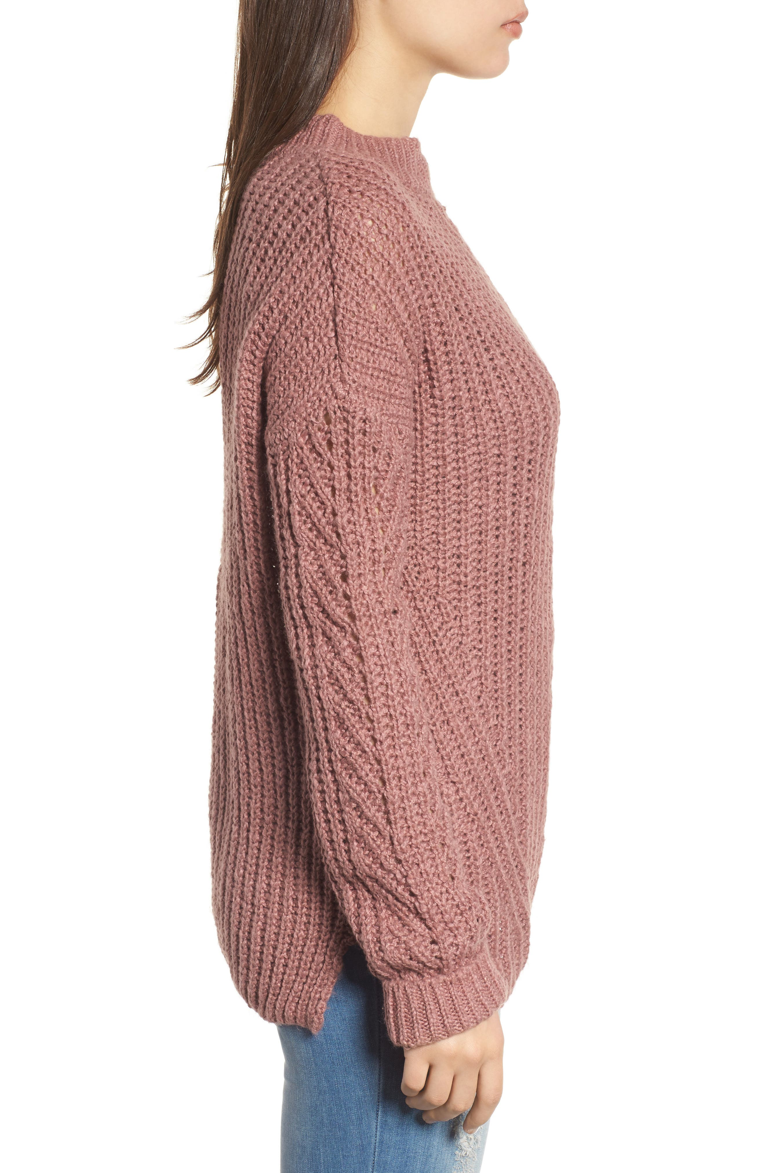 Open Stitch Sweater,                             Alternate thumbnail 3, color,                             Dusty Pink