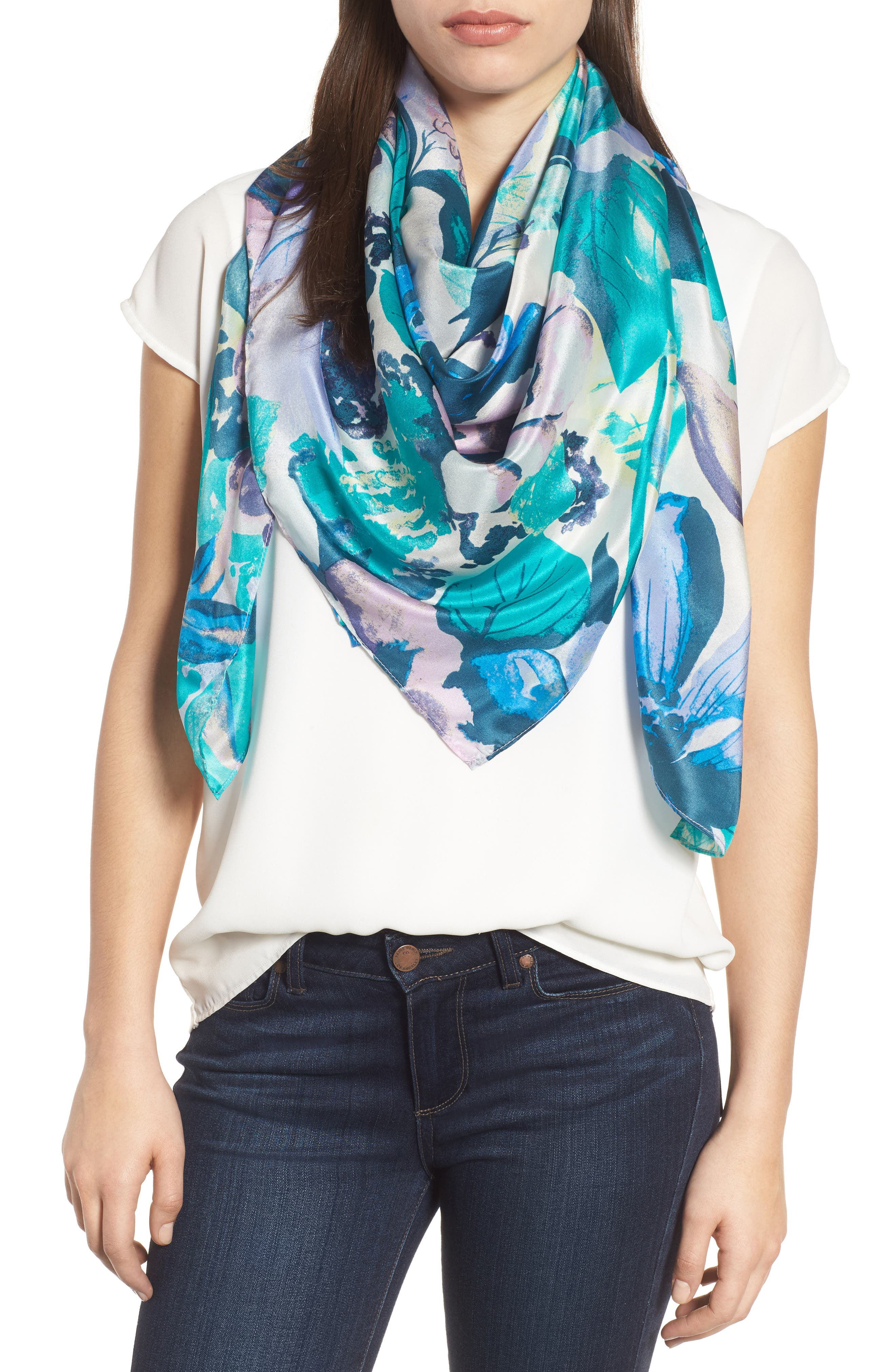 Print Silk Square Scarf,                             Main thumbnail 1, color,                             Teal Mirror Floral