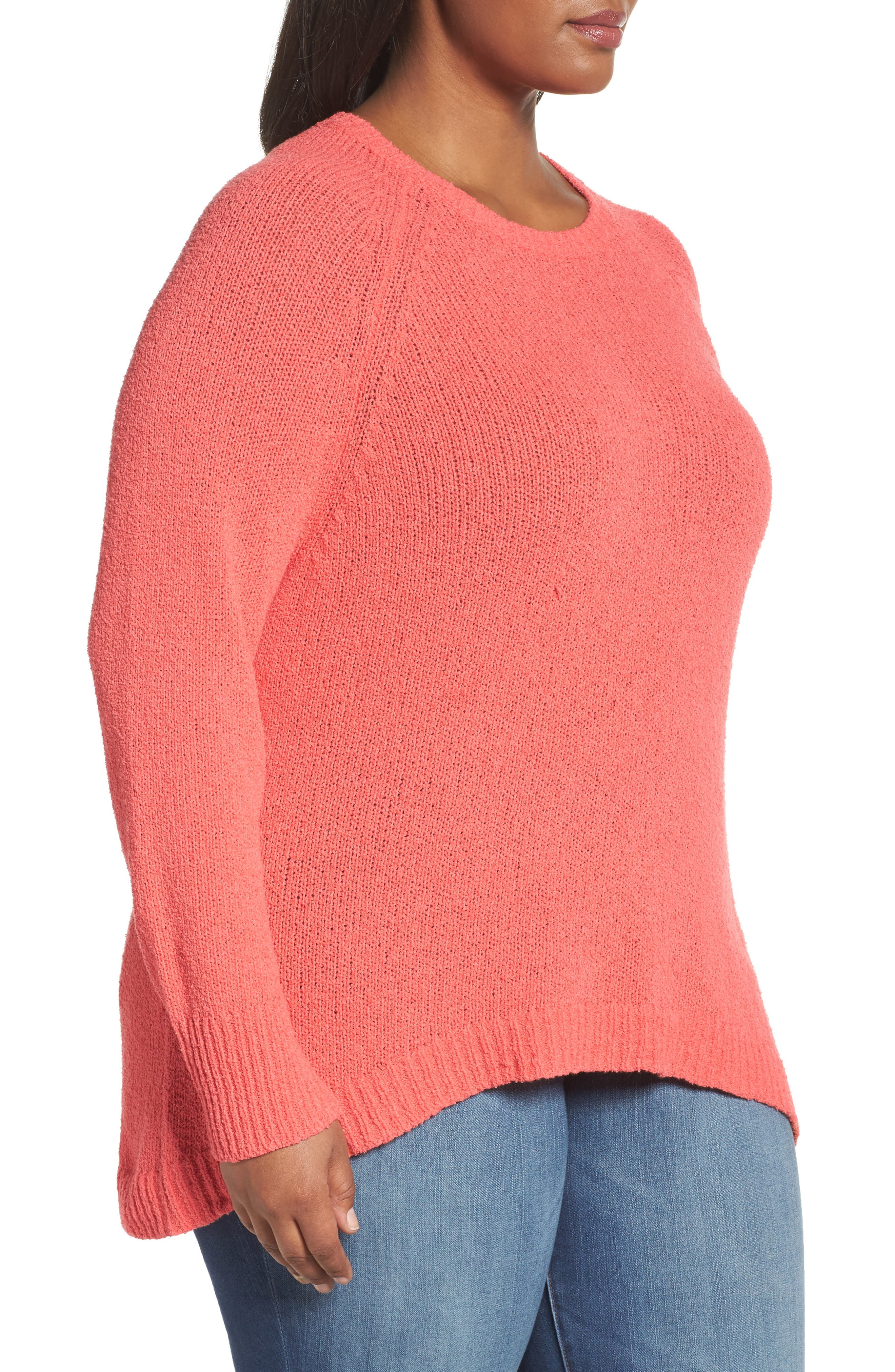 Relaxed Crewneck Sweater,                             Alternate thumbnail 4, color,                             Coral Sea