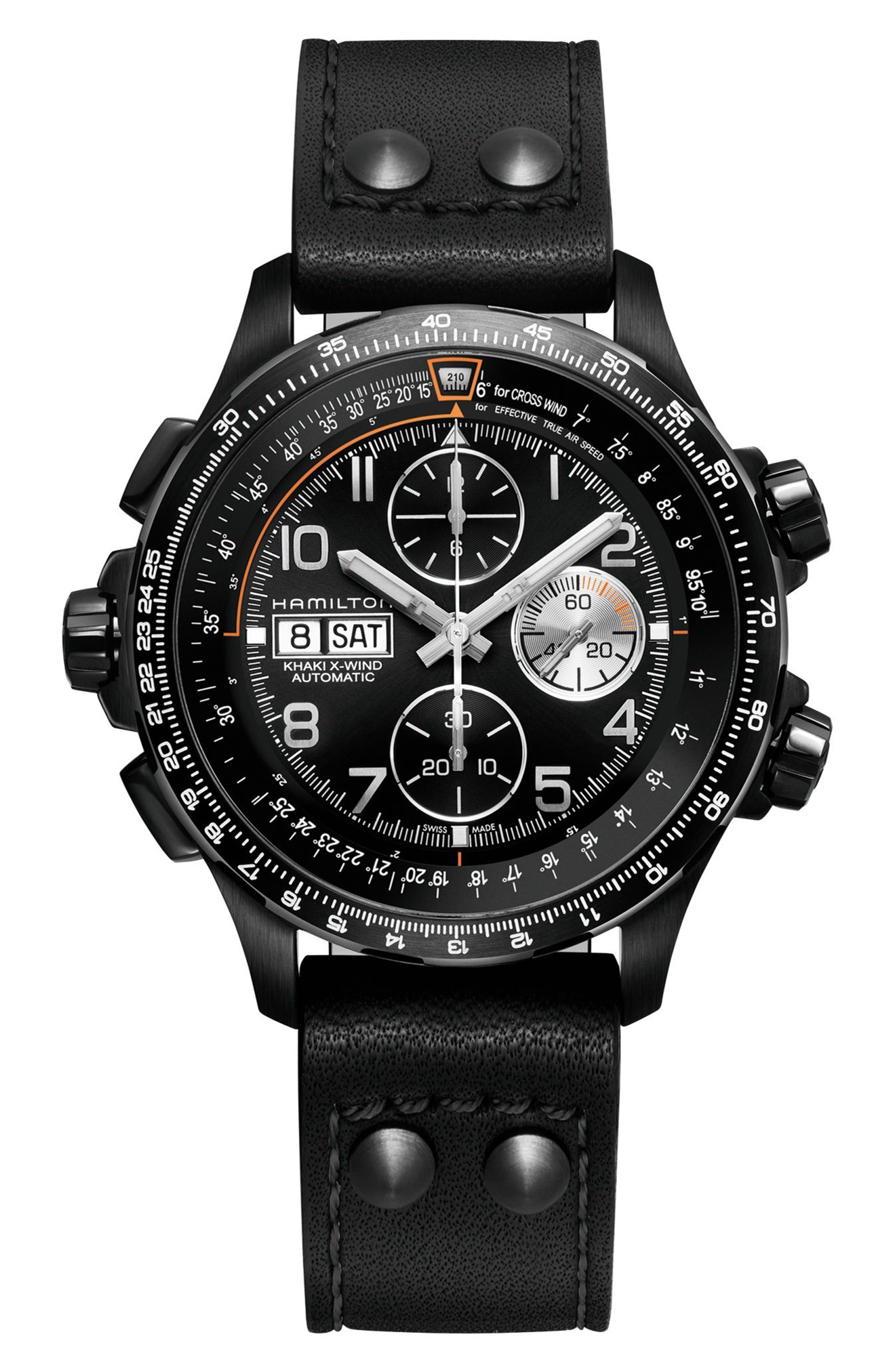 Khaki Aviation X-Wind Automatic Chronograph Leather Strap Watch, 44mm,                         Main,                         color, Black