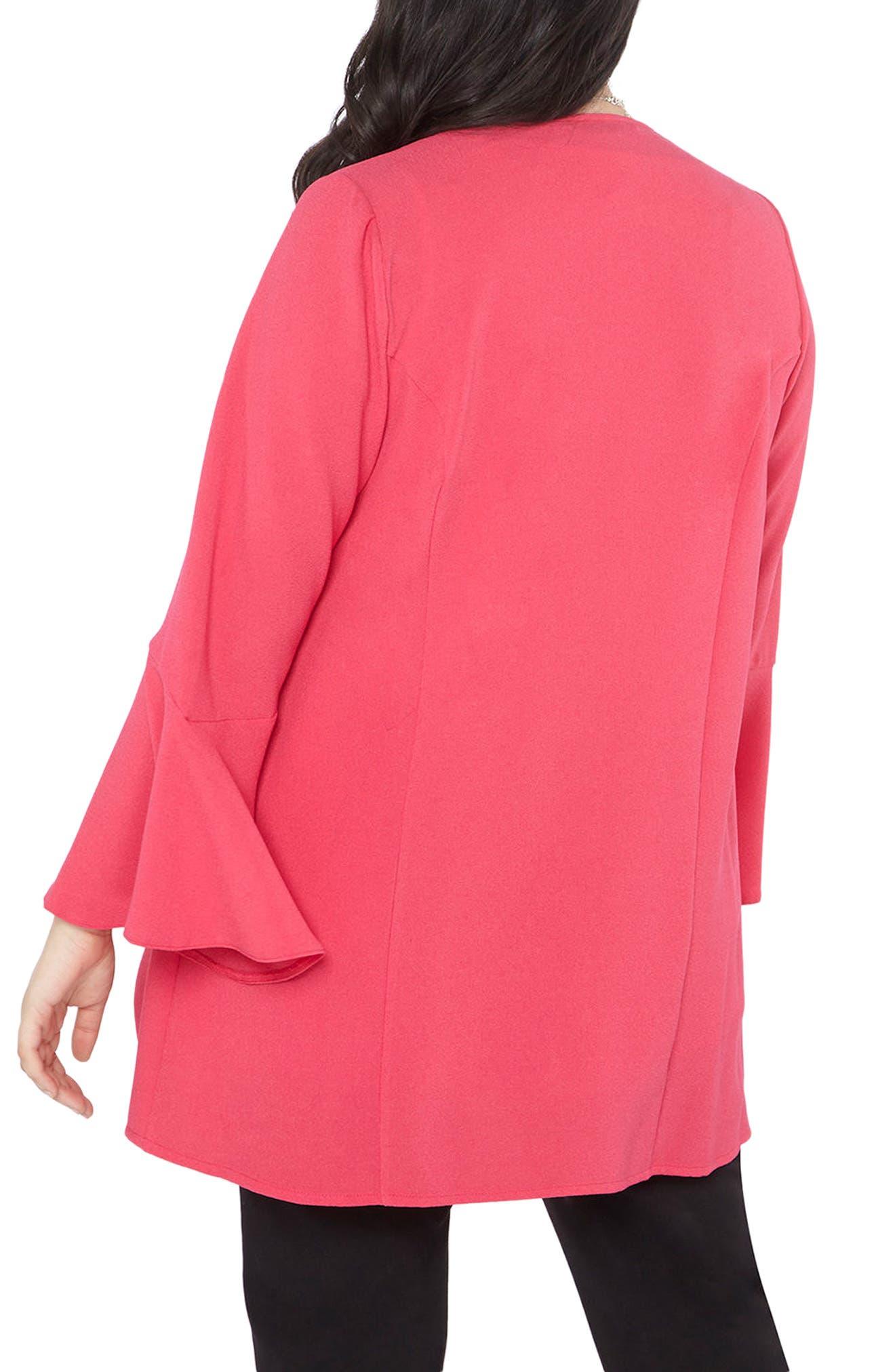 Ruffle Sleeve Jacket,                             Alternate thumbnail 2, color,                             Hot Pink