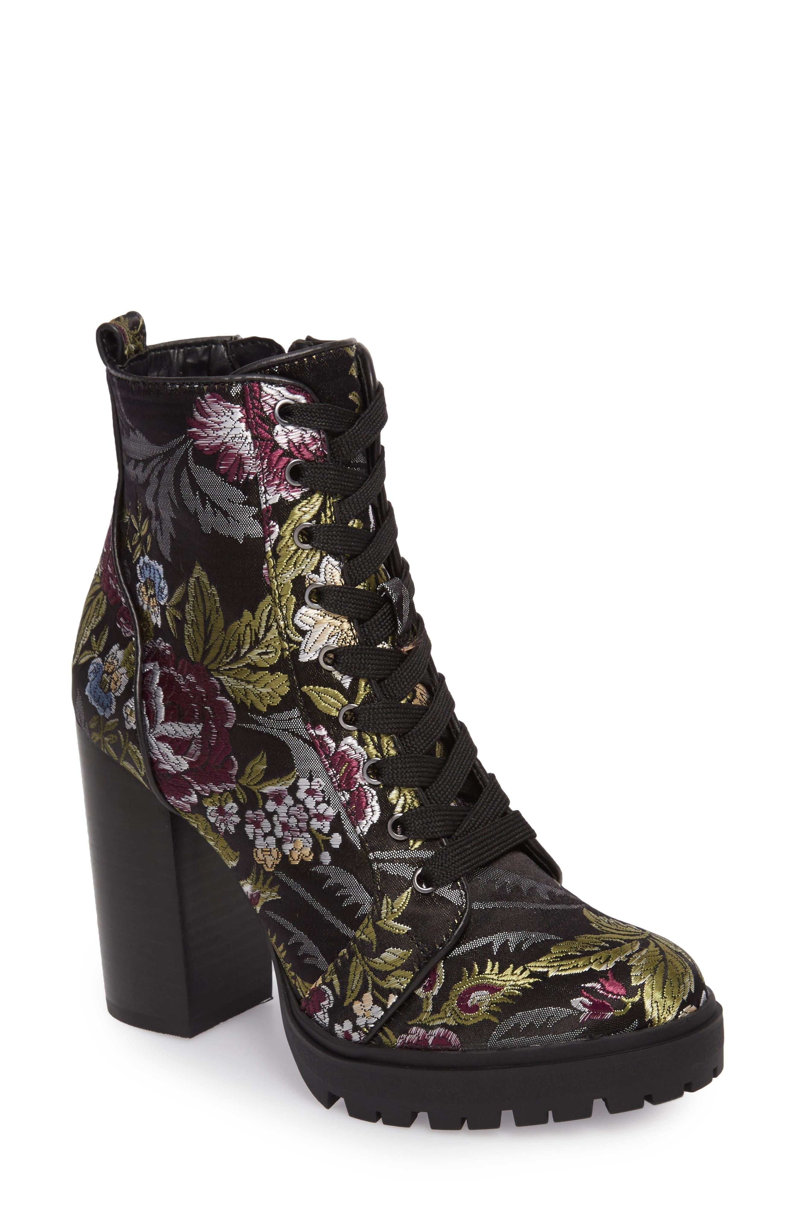 Laurie Platform Bootie,                             Main thumbnail 1, color,                             Black Floral Fabric