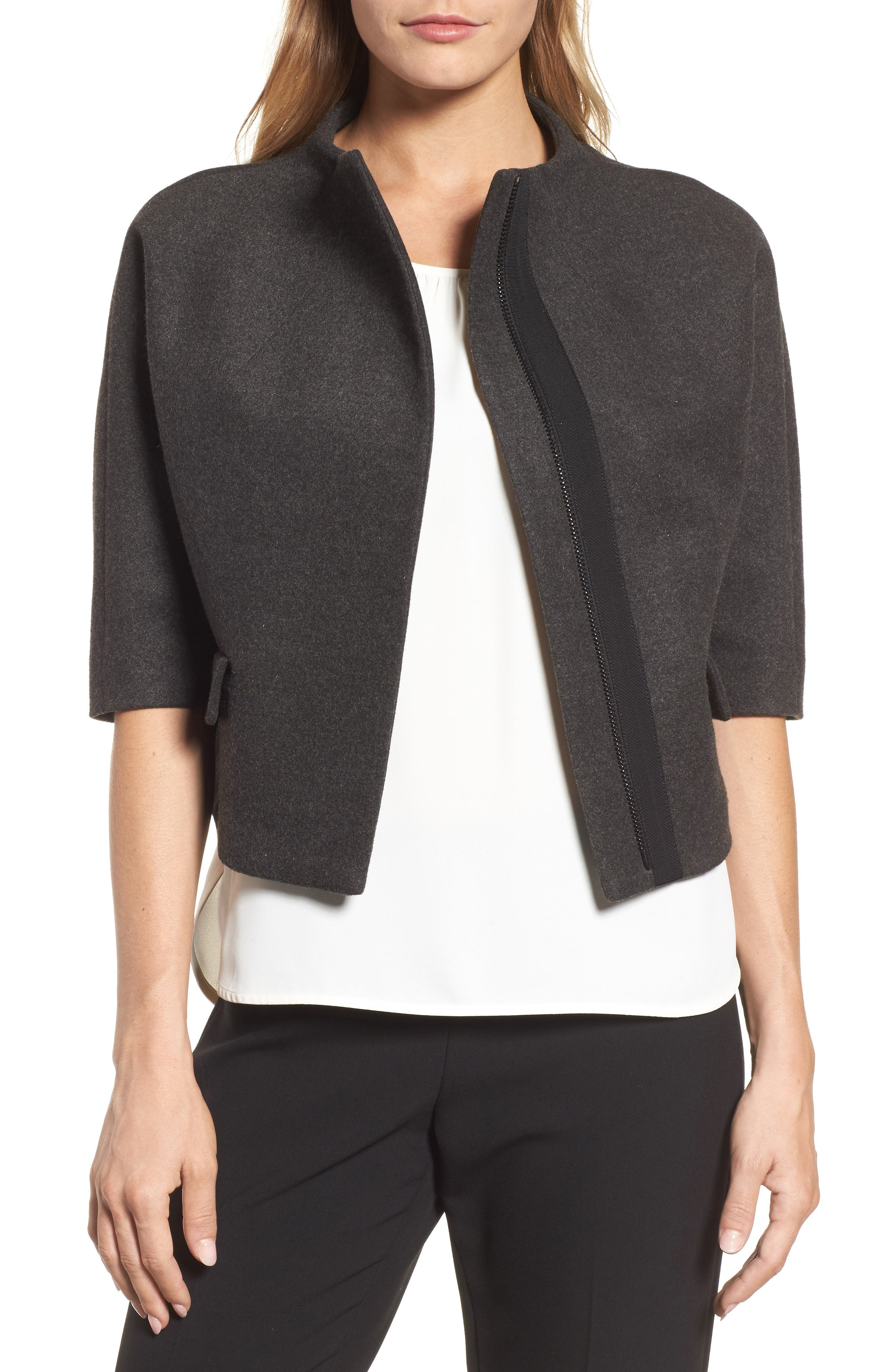 Funnel Neck Cropped Jacket,                             Main thumbnail 1, color,                             Heather Grey