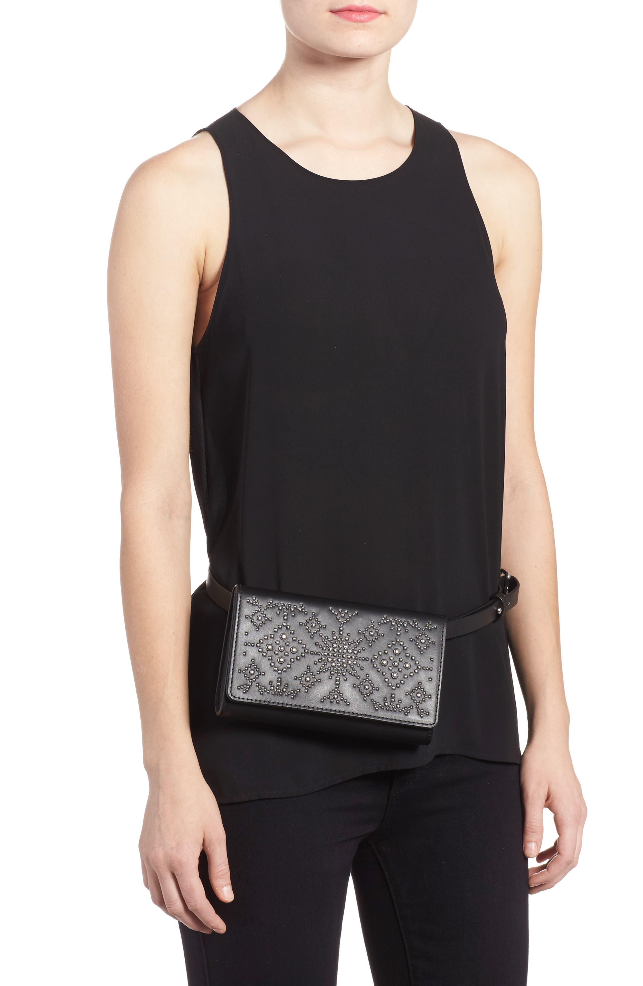 Erin Studded Calfskin Leather Belt Bag,                             Alternate thumbnail 2, color,                             Black