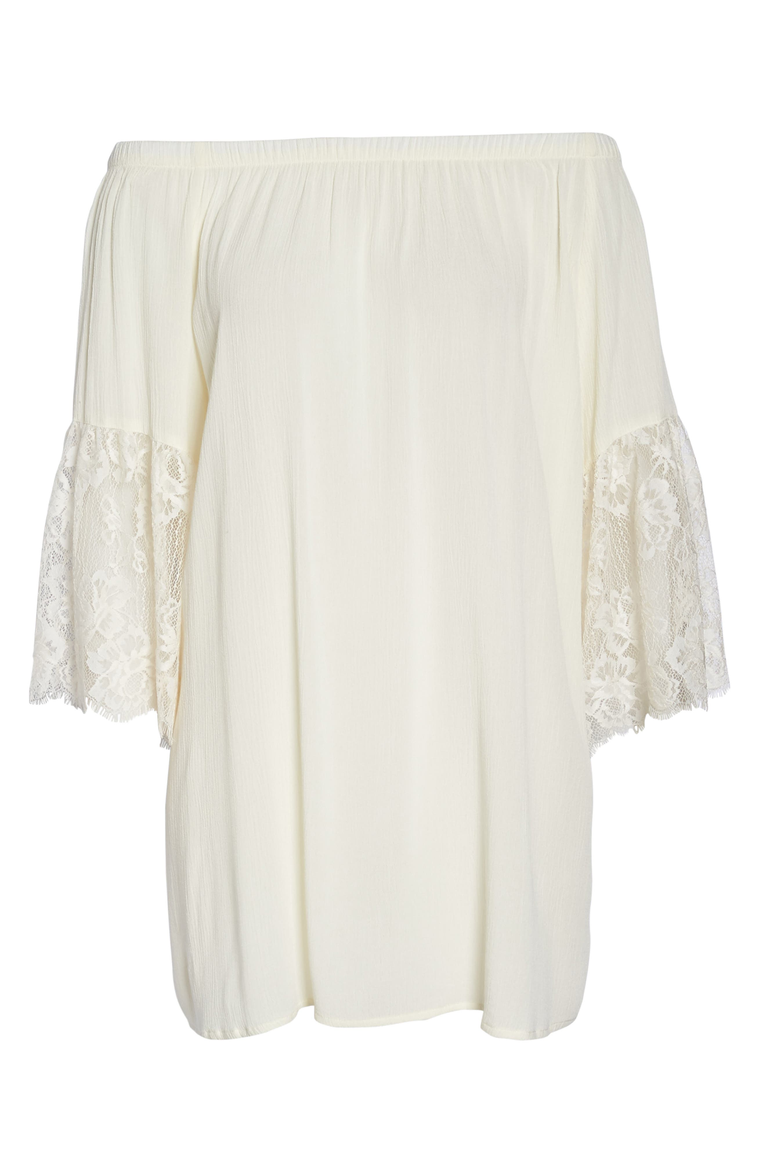 Off the Shoulder Cover-Up Dress,                             Alternate thumbnail 7, color,                             Ivory Egret