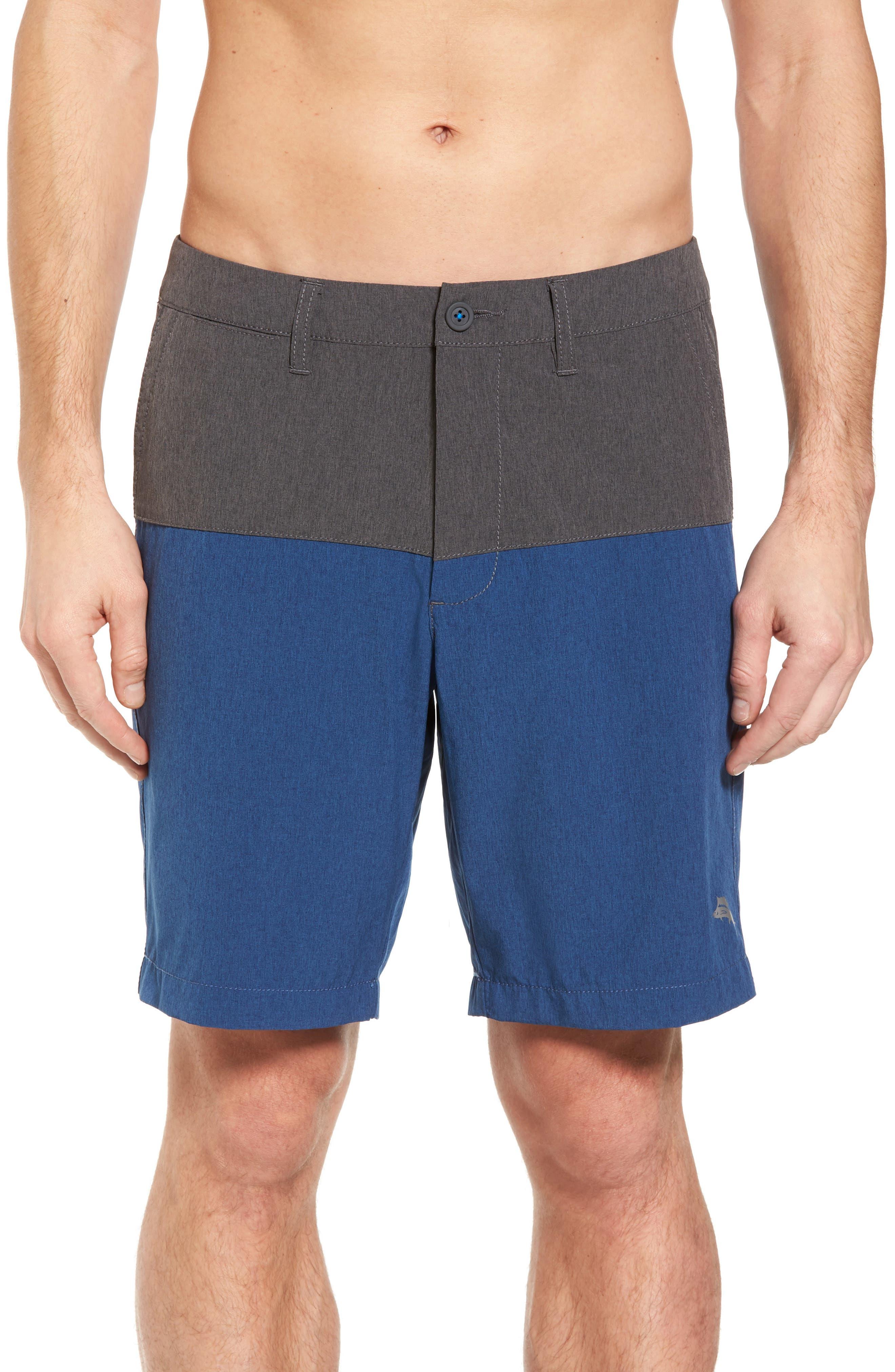 Cayman Block & Roll Hybrid Swim Shorts,                             Main thumbnail 1, color,                             Deep Marine