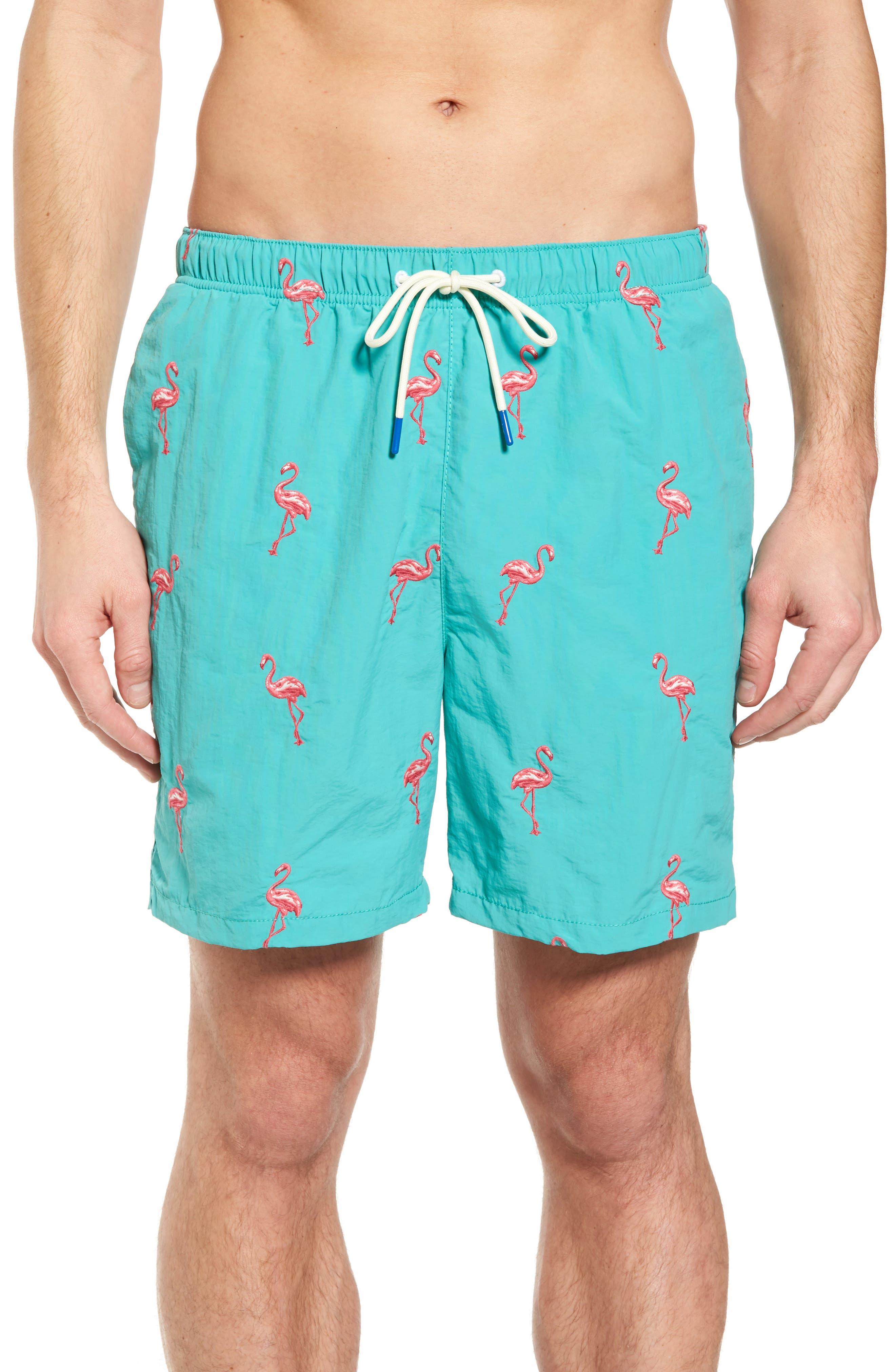 Naples Flamingo Coast Swim Trunks,                             Main thumbnail 1, color,                             Castaway Green