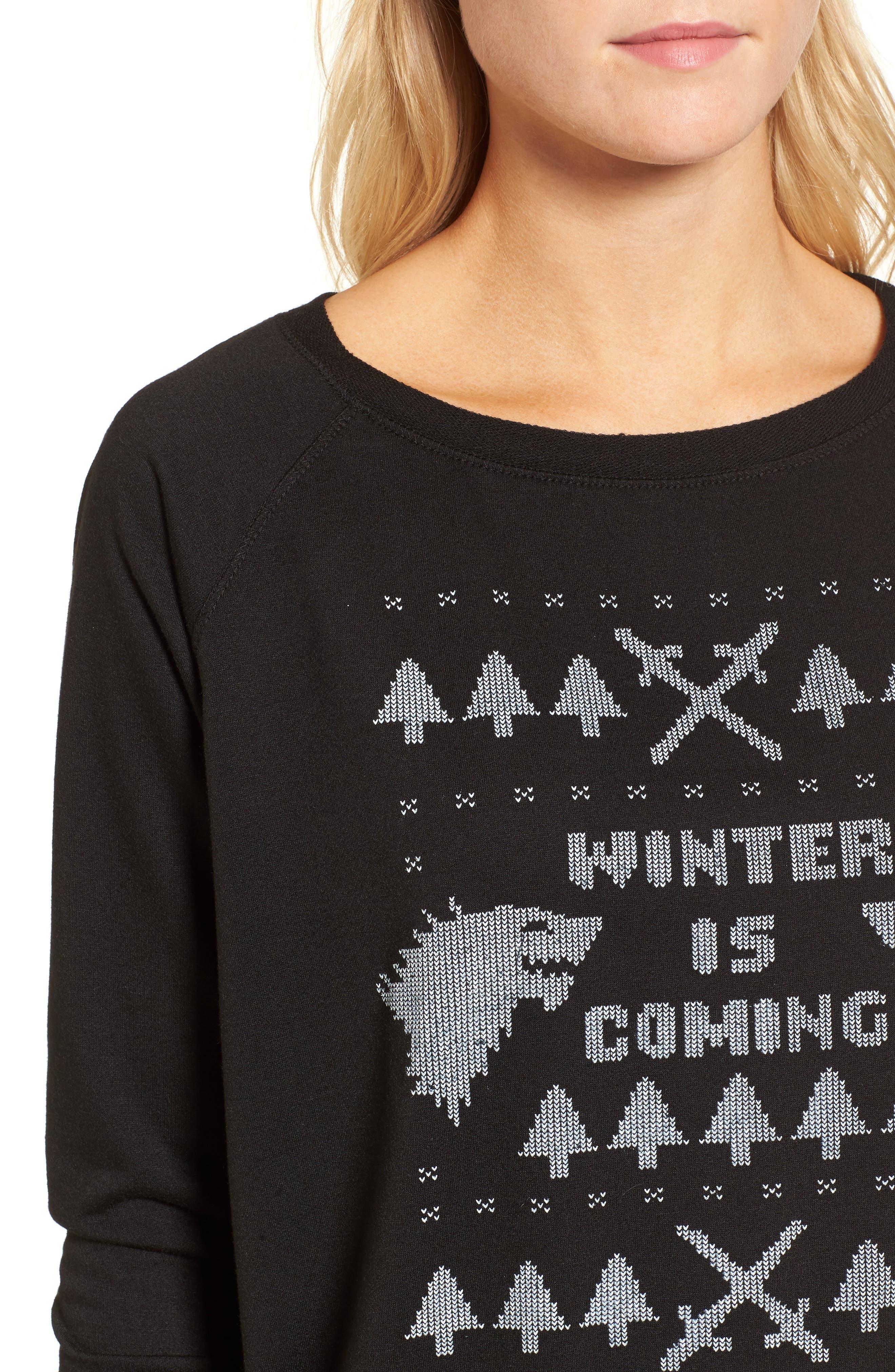 Winter Is Coming Sweatshirt,                             Alternate thumbnail 4, color,                             Black