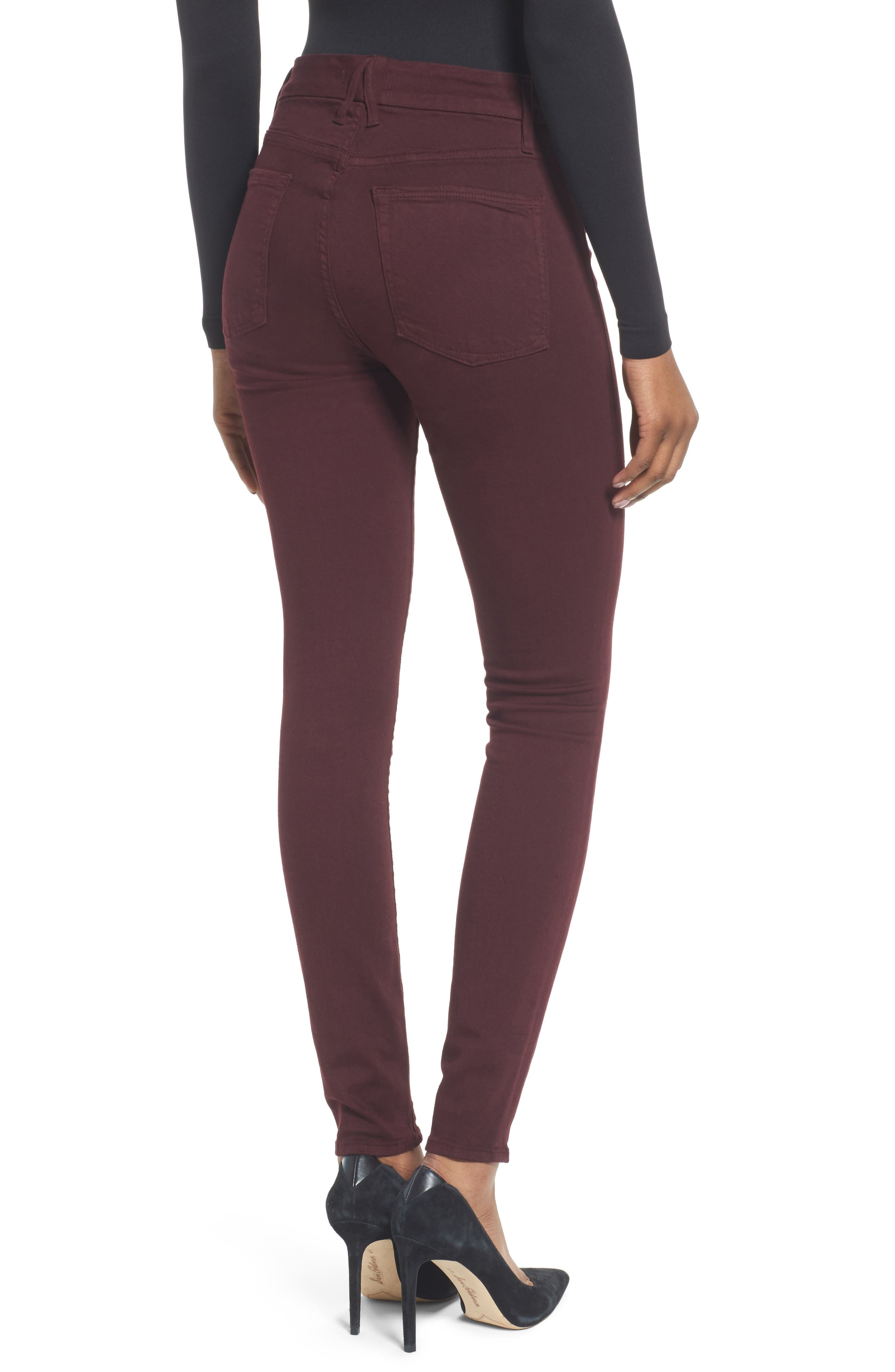 Good Legs High Waist Skinny Jeans,                             Alternate thumbnail 2, color,                             Burgundy