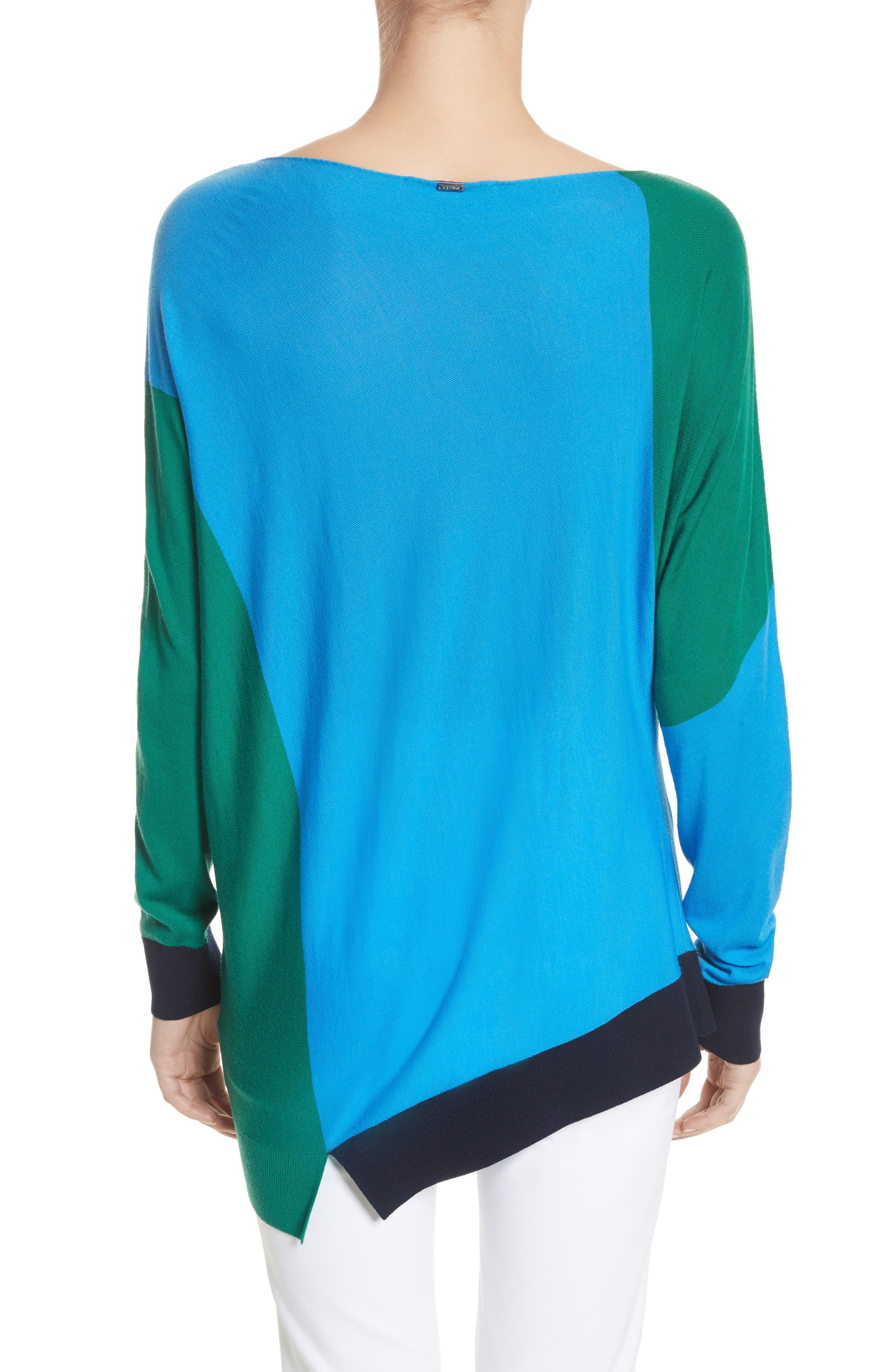 Colorblock Knit Wool Sweater,                             Alternate thumbnail 2, color,                             Cyan/ Emerald/ Navy